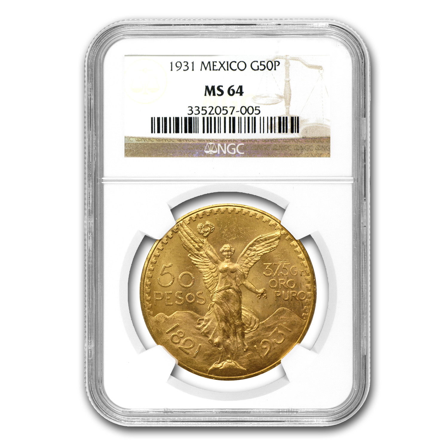 1931 Mexico Gold 50 Pesos MS-64 NGC