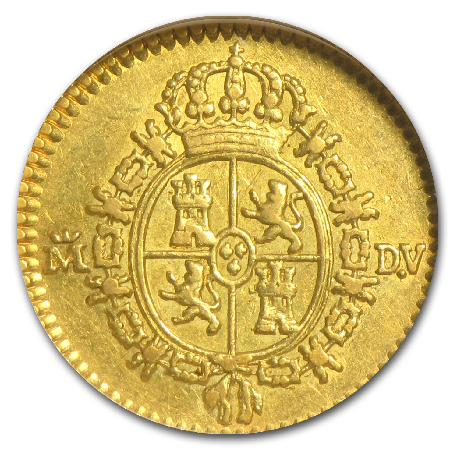 1786-DV Spain Gold 1/2 Escudo XF-45 NGC