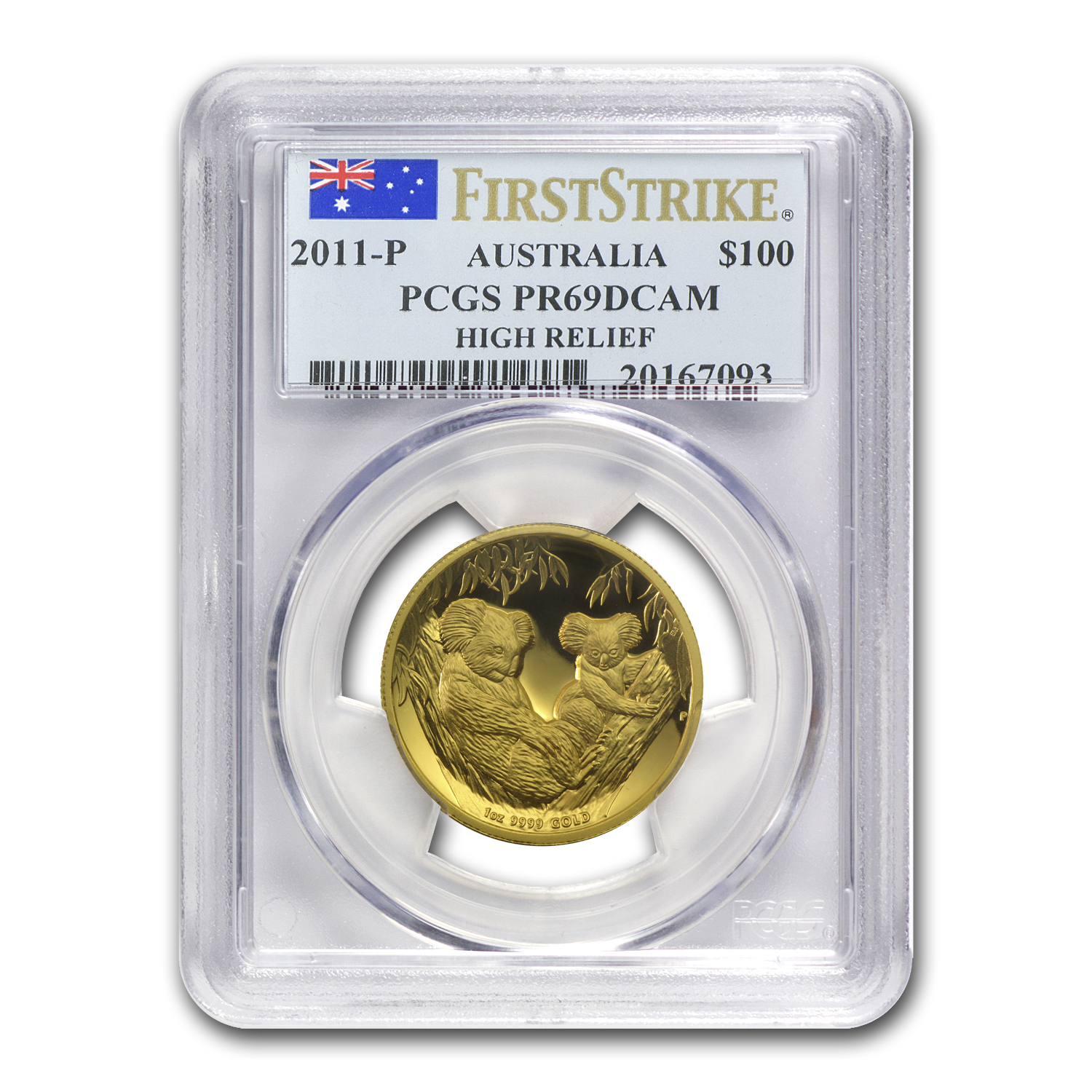 2011-P 1 oz Australian Gold Koala PR-69 PCGS (FS, High Relief)