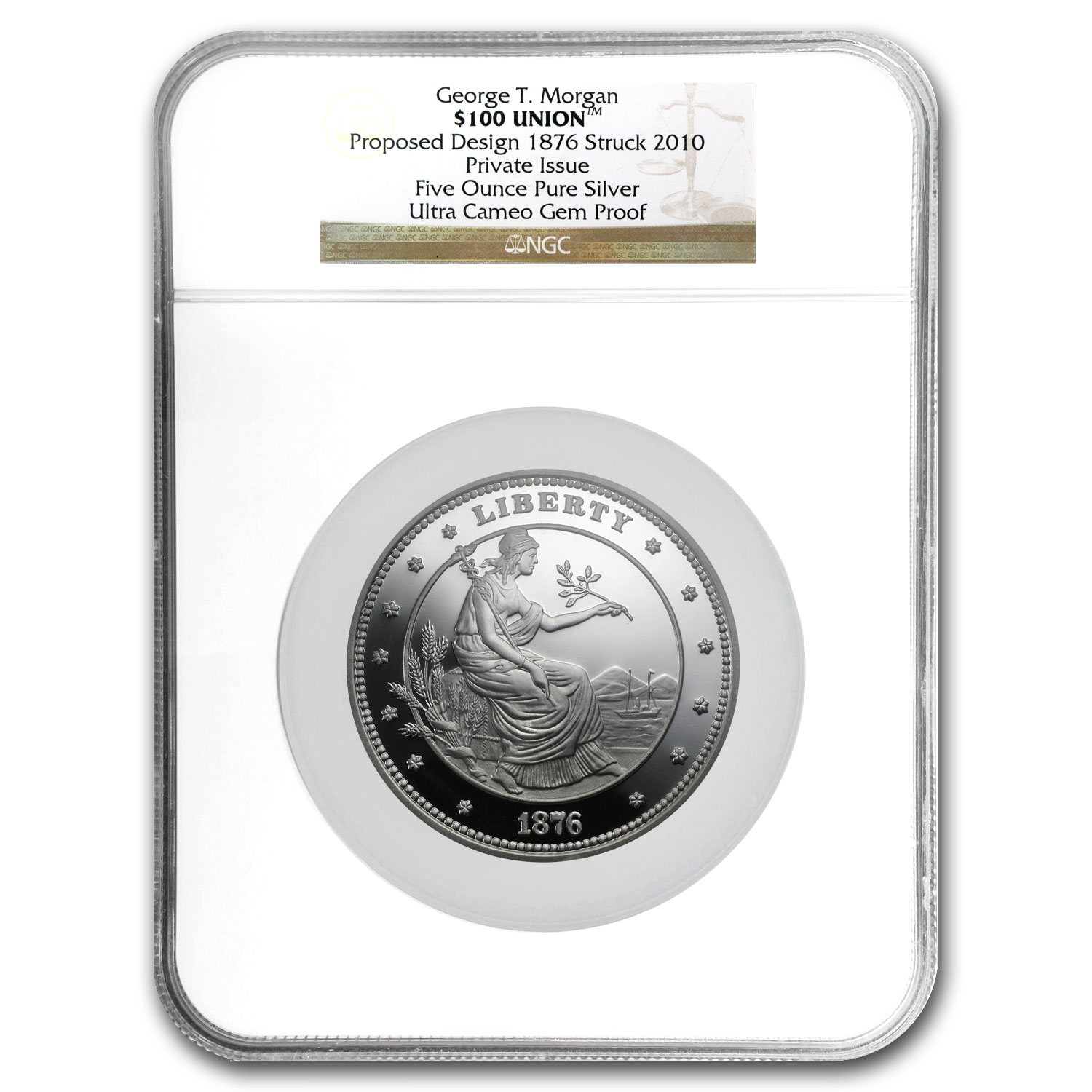 5 oz Silver Round - $100 Silver Union George T Morgan Pattern NGC