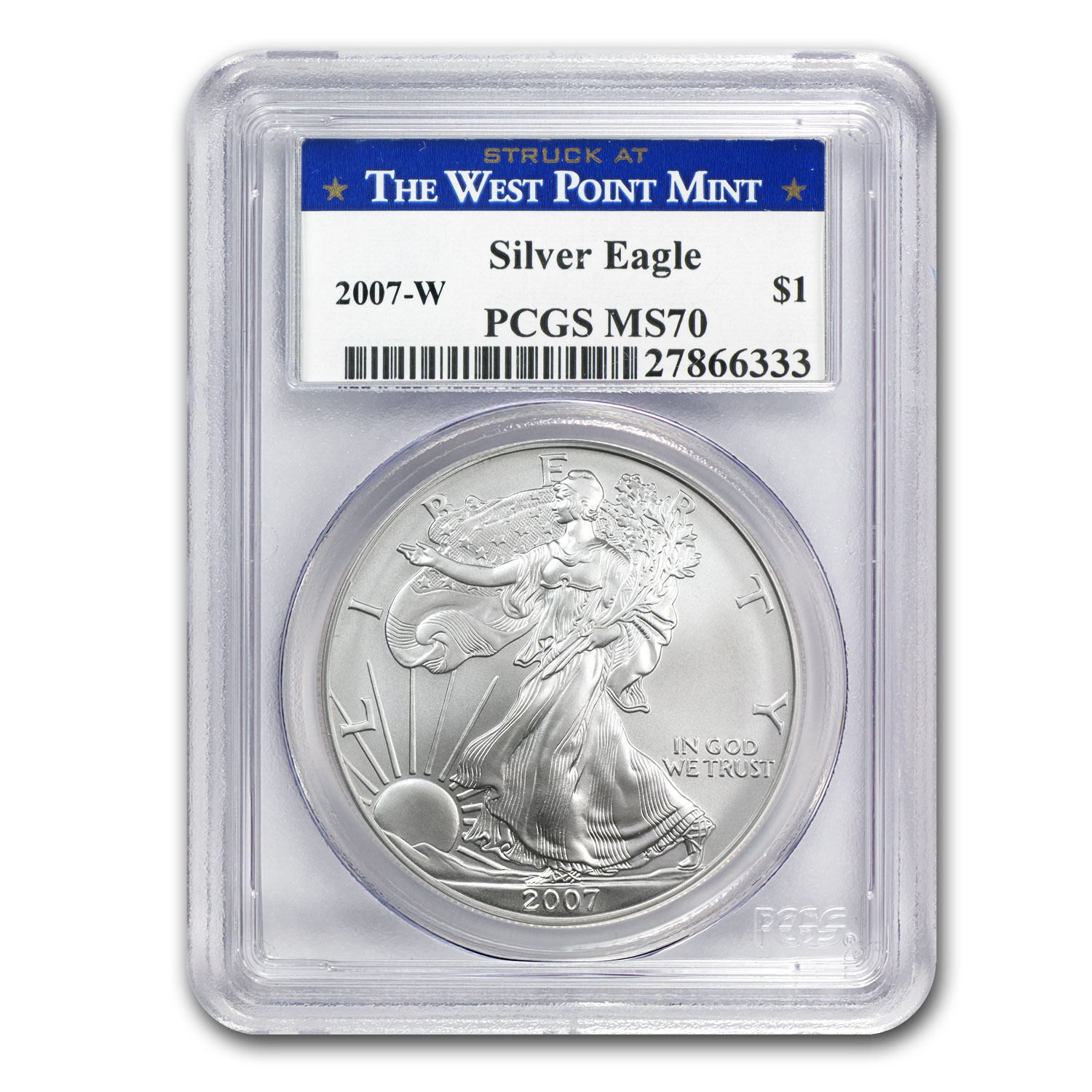 2007-W (Burnished) Silver American Eagle MS-70 PCGS - West Point