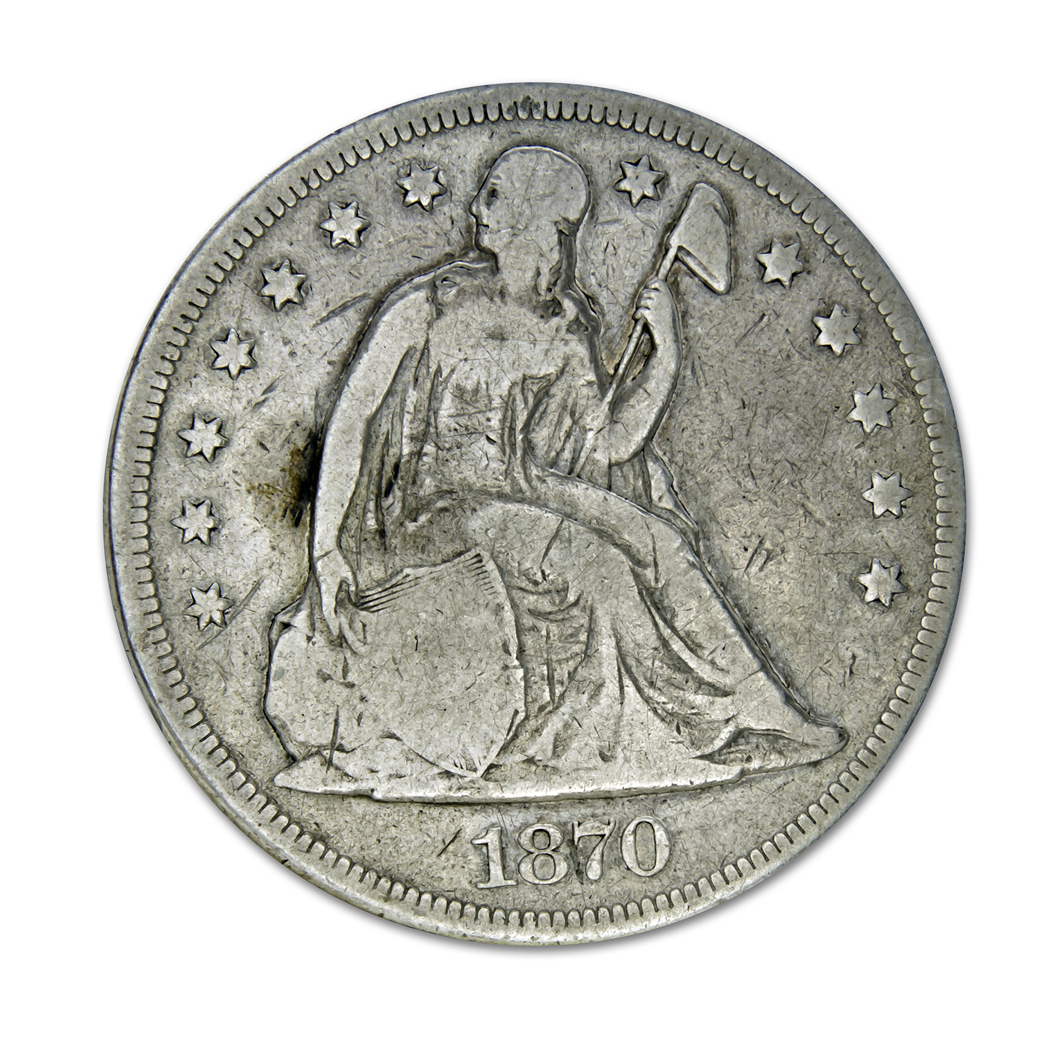 1870-CC Liberty Seated Dollar Very Good