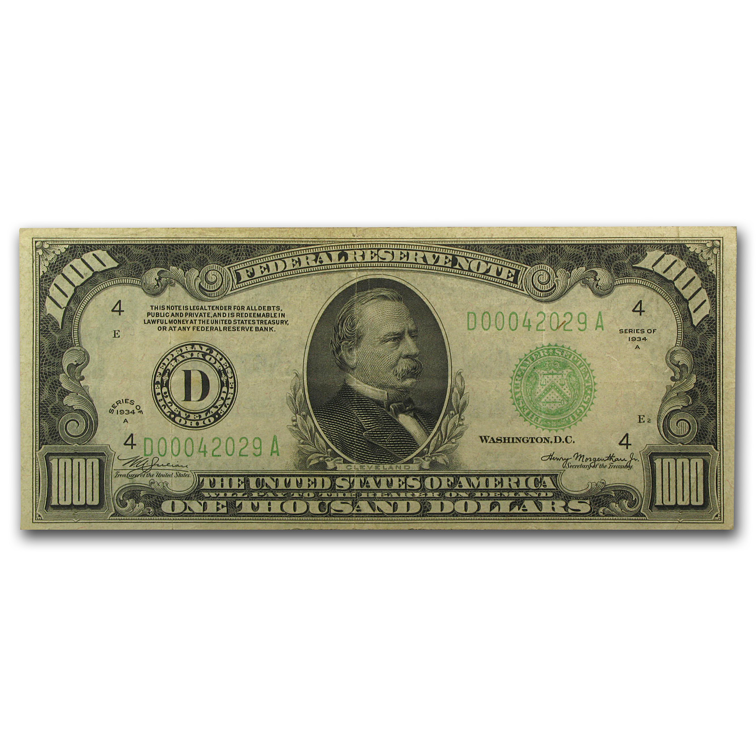 1934-A (D-Cleveland) $1,000 FRN (Very Fine)