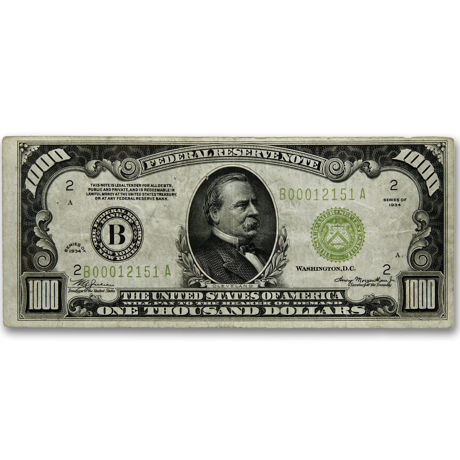 1934 (B-New York) $1,000 FRN VF (LGS, FR#2211-B)