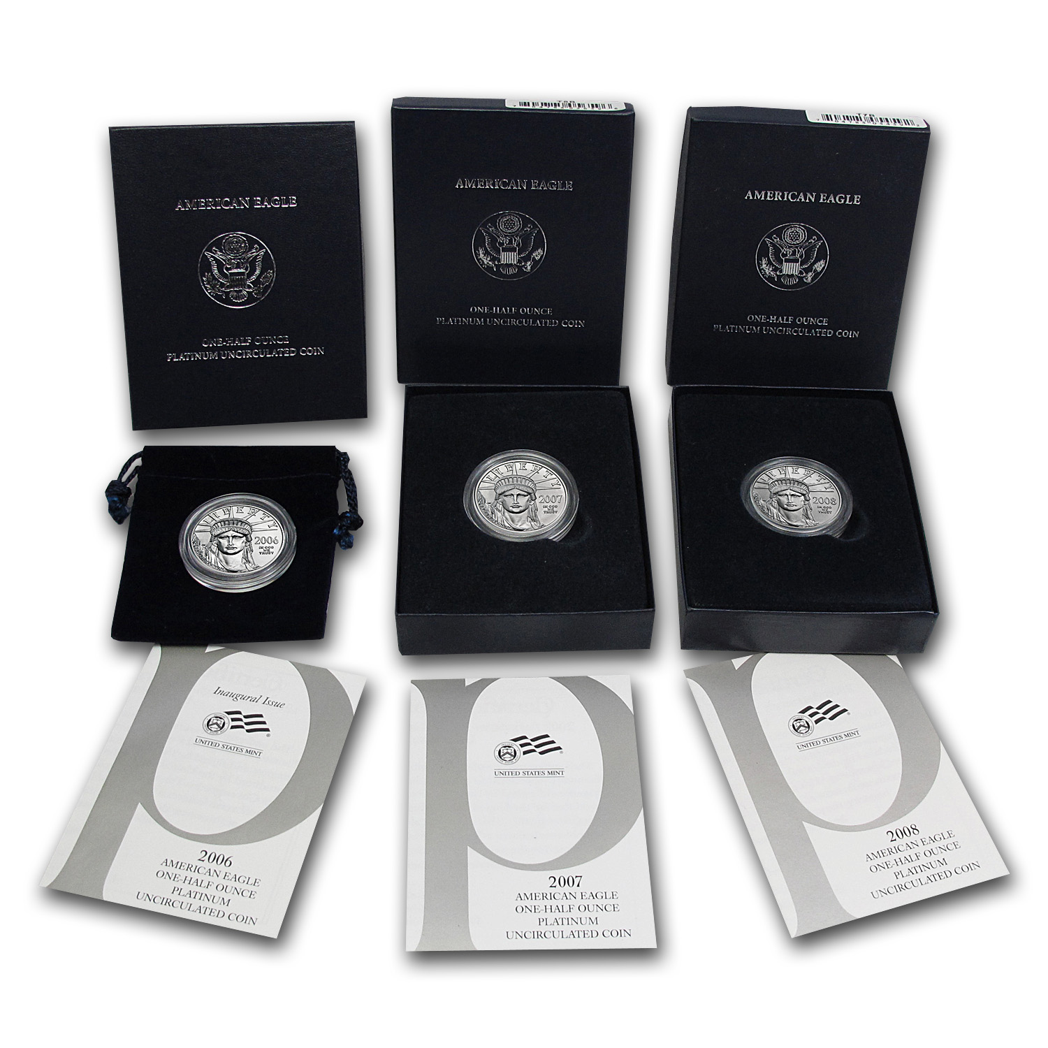 2006-08 3-Coin 1/2 oz Burnished Platinum Eagle Set (w/Box & COA)
