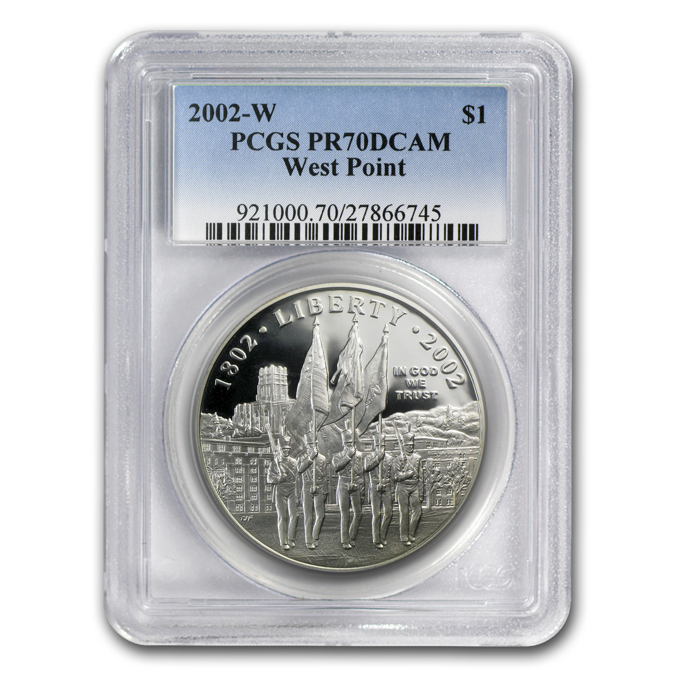 2002-W West Point Bicentennial $1 Silver Commem PR-70 PCGS