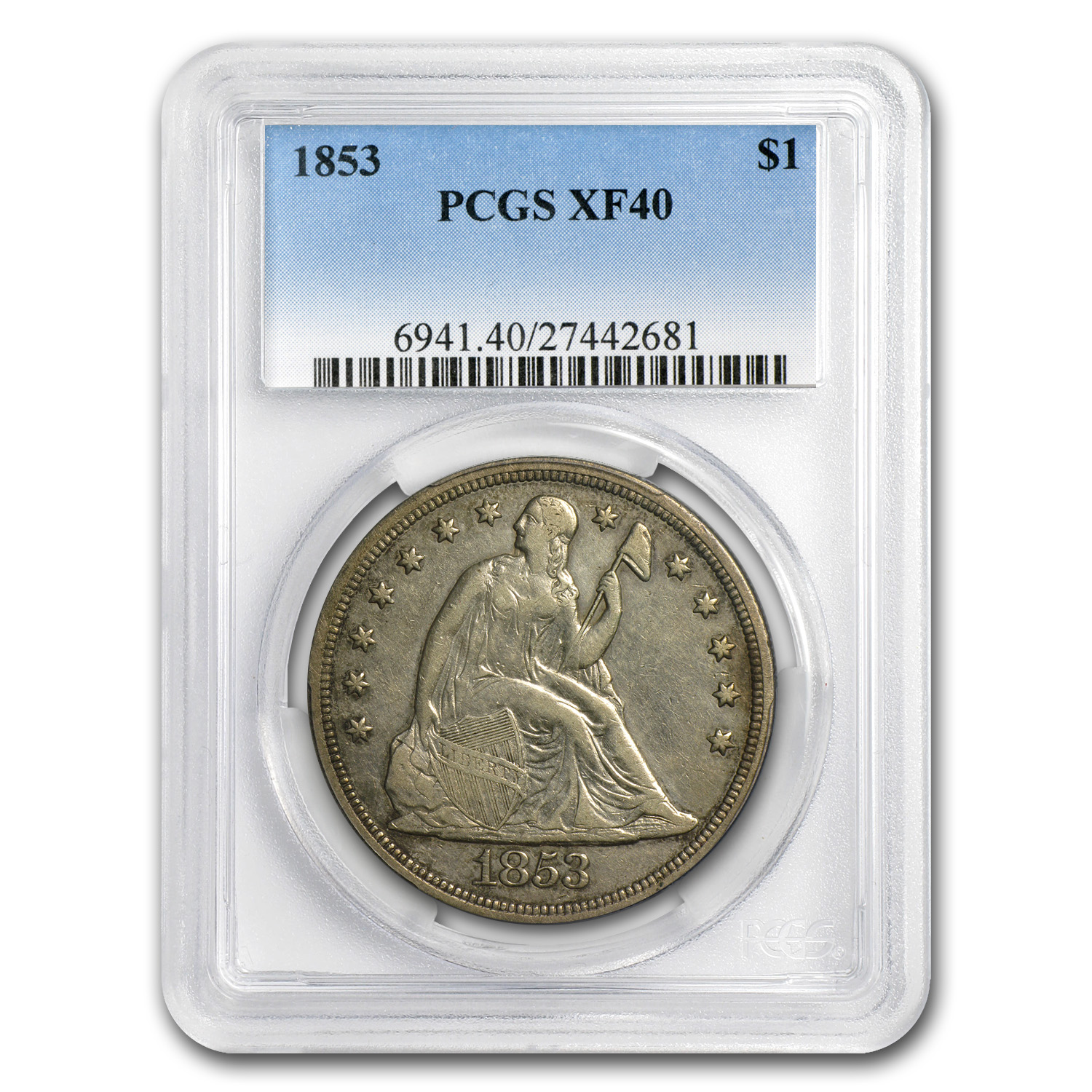 1853 Liberty Seated Dollar XF-40 PCGS