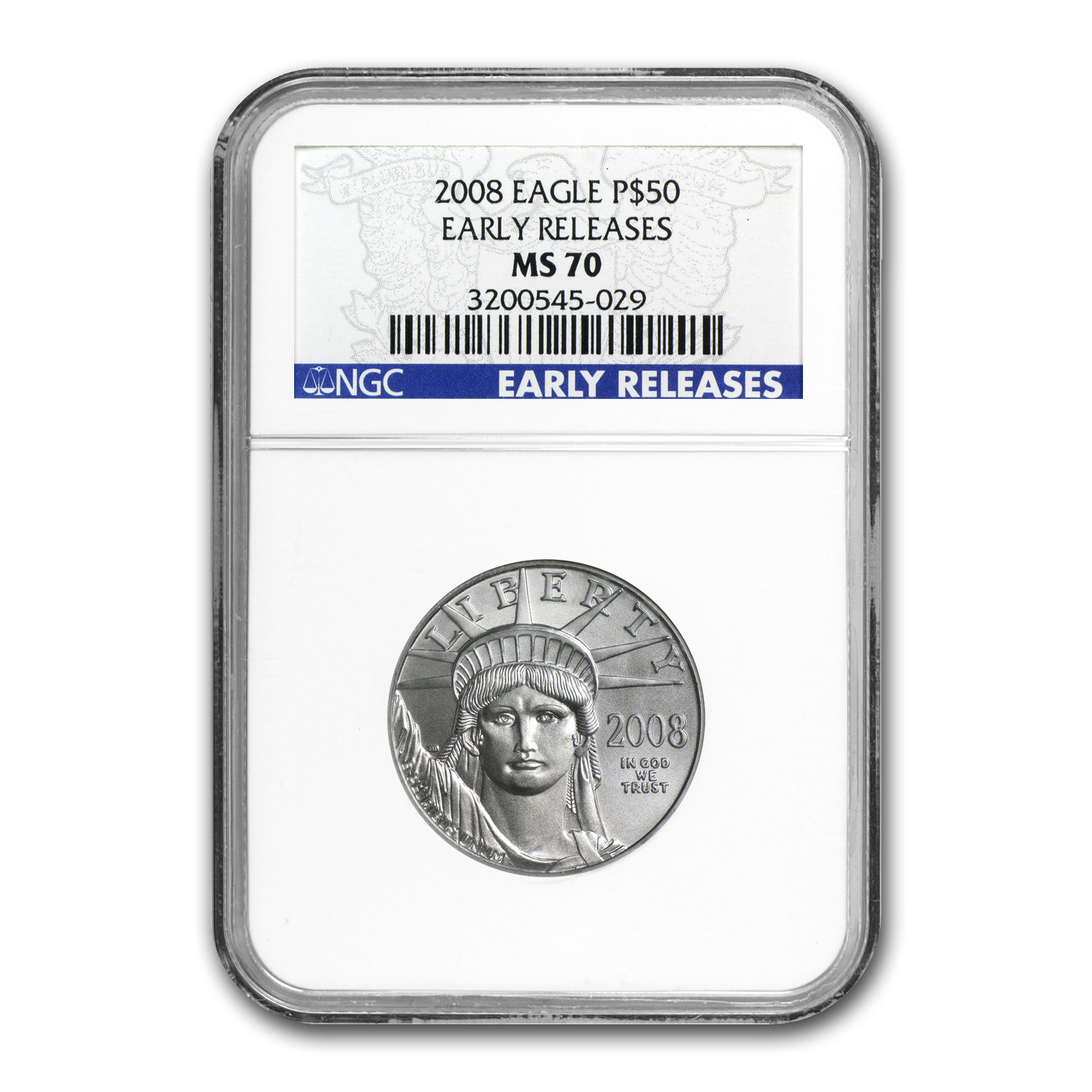 2008 1/2 oz Platinum American Eagle MS-70 NGC (ER)