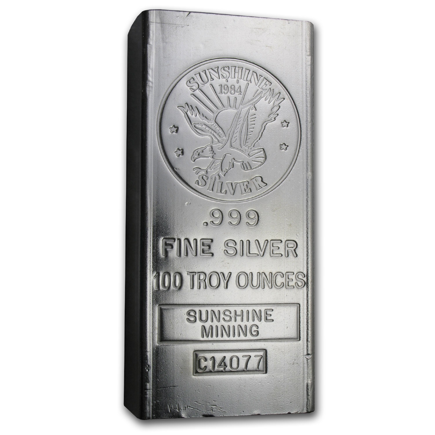 100 oz Silver Bar - Sunshine (1984/Vintage/Struck)