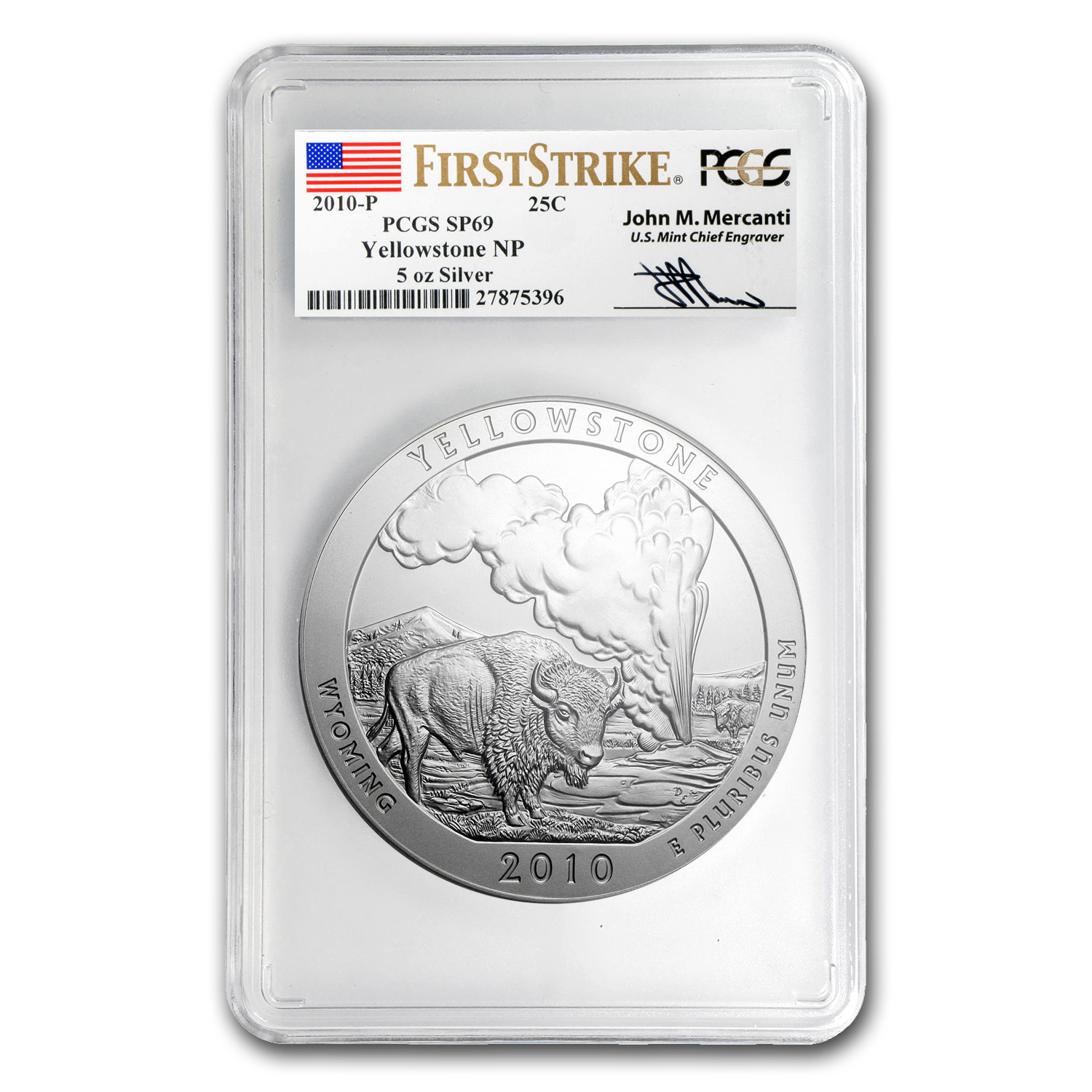 2010-P 5 oz Silver ATB Yellowstone SP-69 PCGS (FS, Mercanti)