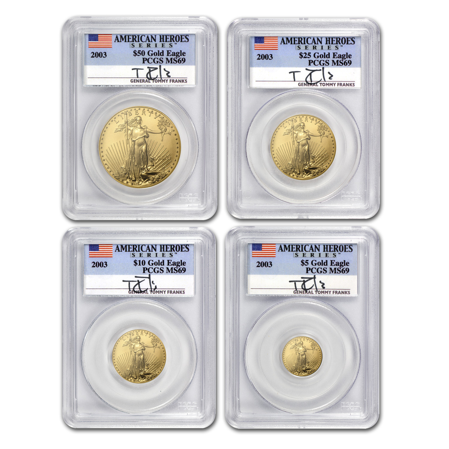 2003 4-Coin Gold American Eagle Set MS-69 PCGS (Tommy Franks)
