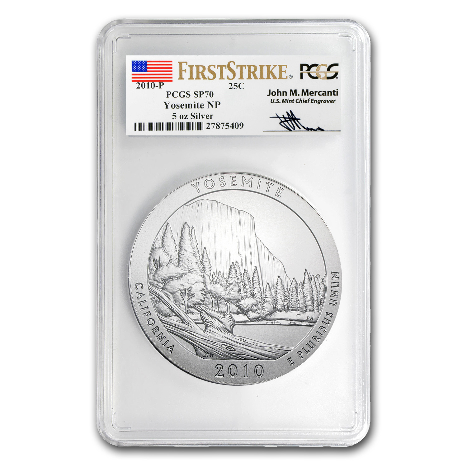 2010-P 5 oz Silver ATB Yosemite SP-70 PCGS (FS, Mercanti Label)
