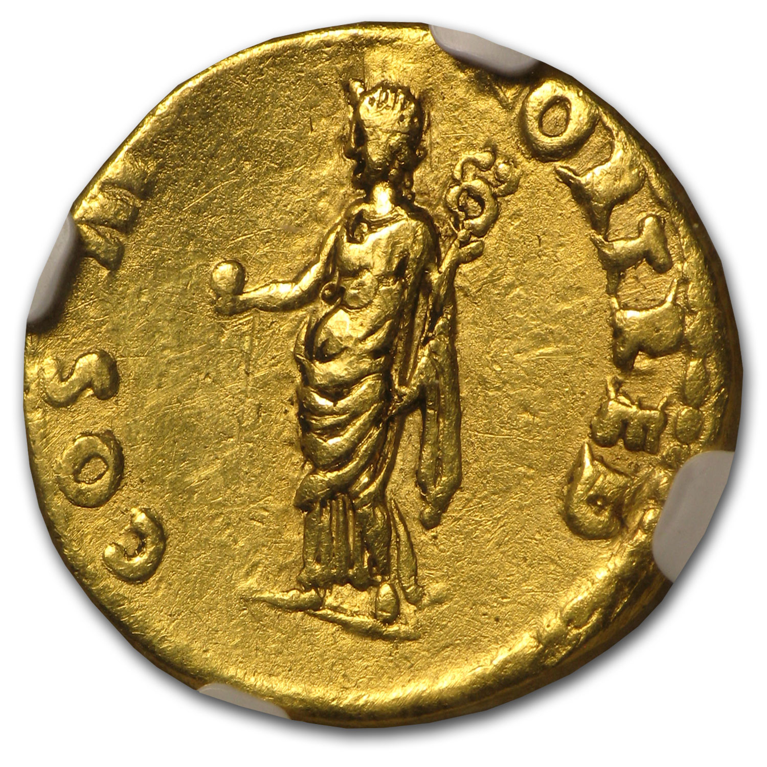 Roman Gold Aureus of Vespasian Ch VF (69-79 AD)