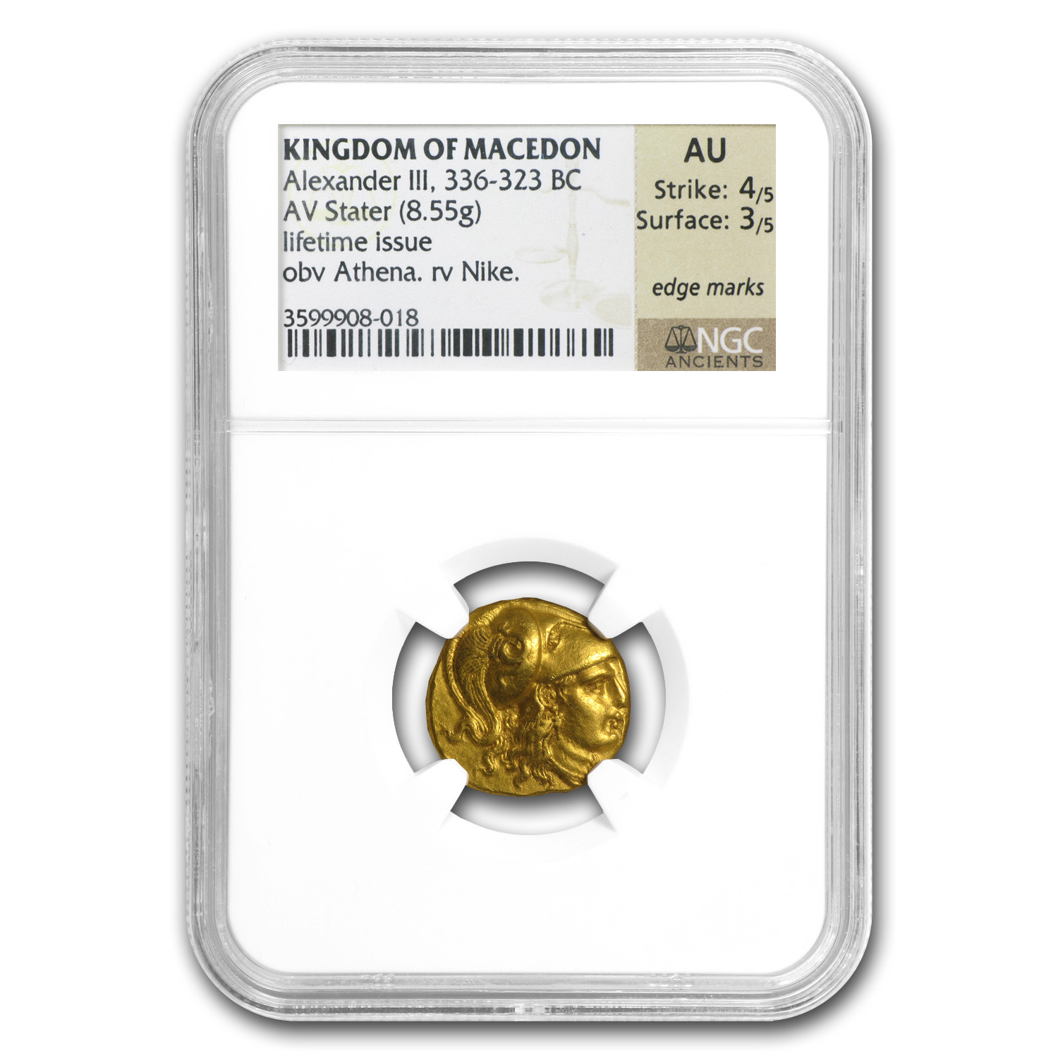 Macedonia Gold Stater of Alexander III AU NGC (336-323 BC)