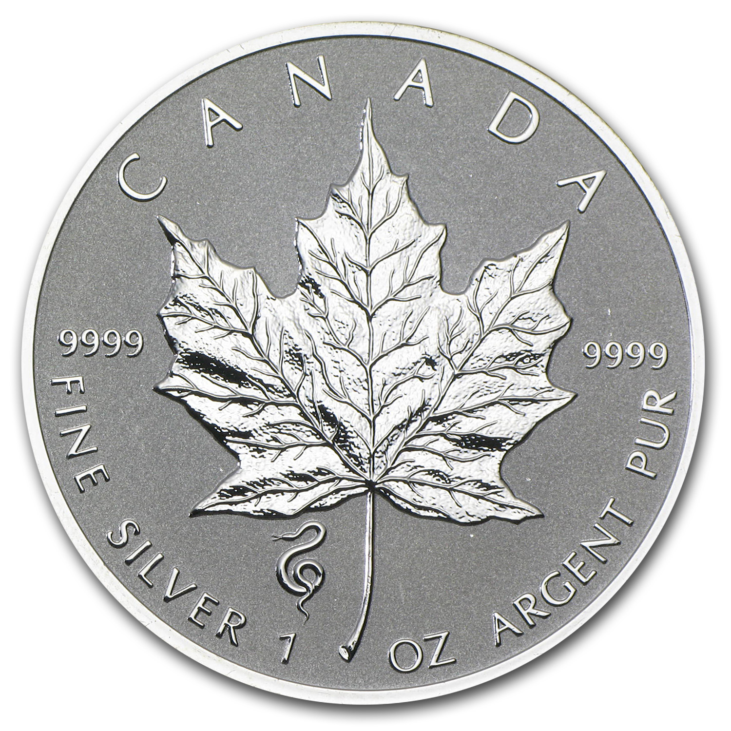 2013 1 oz Silver Maple Leaf Snake Privy (Abrasions, Spotted)