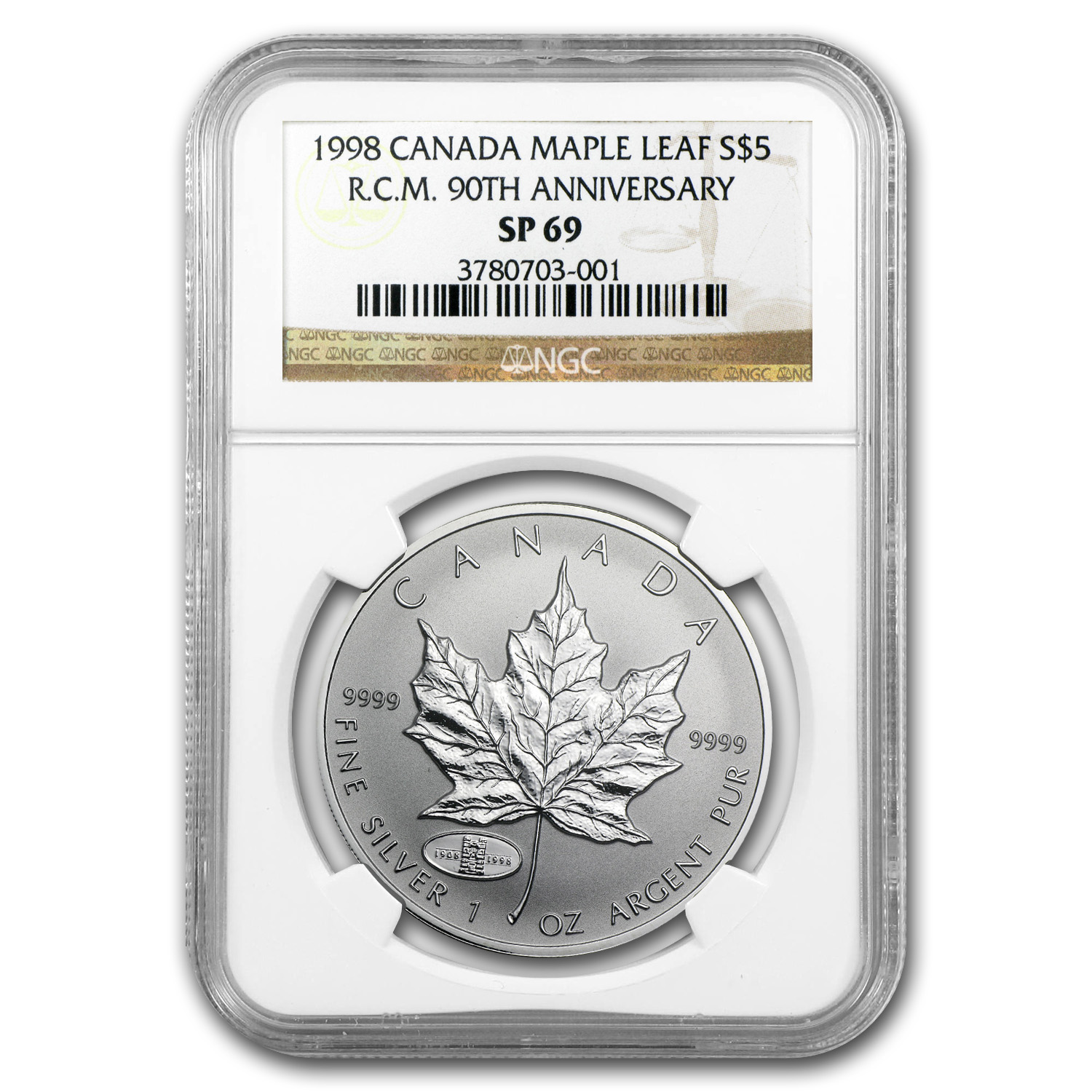 1998 1 oz Silver Canadian Maple Leaf (RCM Privy) - SP-69 NGC