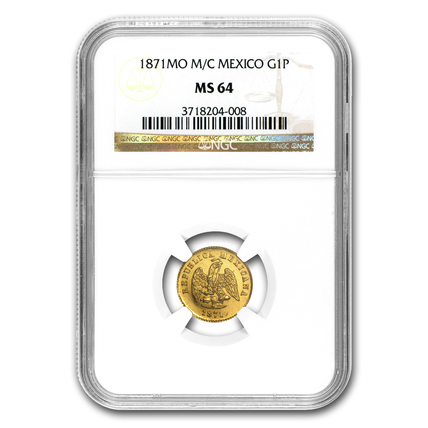 Mexico 1871-Mo M/C 1 Peso Gold Coin - MS-64 NGC