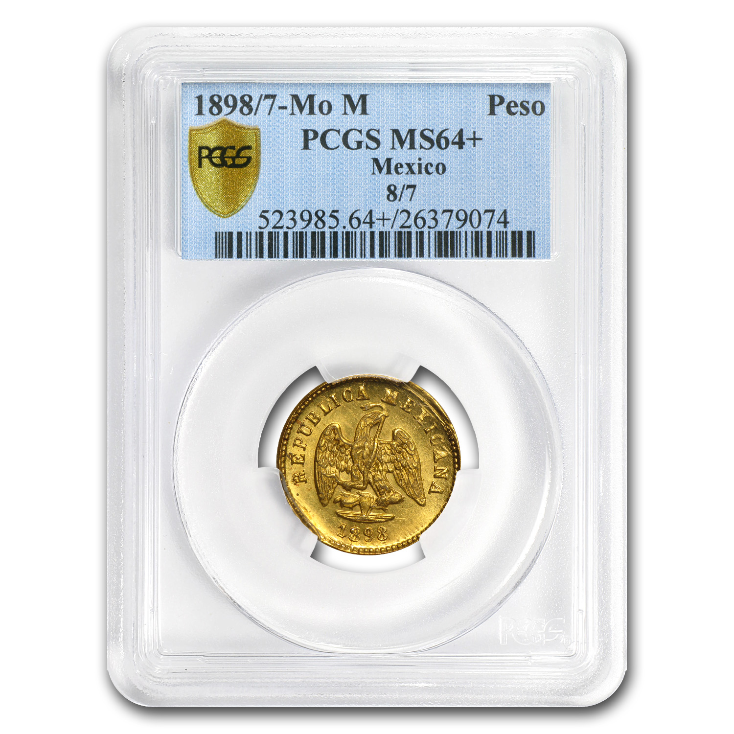Mexico 1898/7-Mo M 1 Peso Gold Coin - MS-64+ PCGS