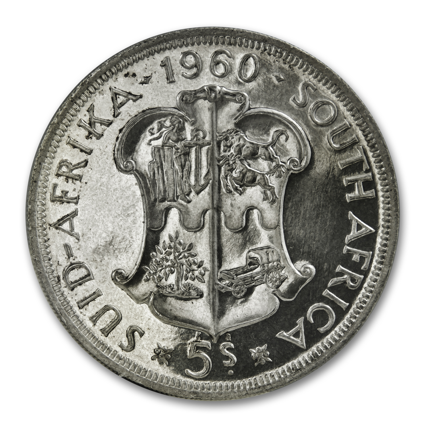 1960 South Africa Silver 5 Shillings Proof-Like