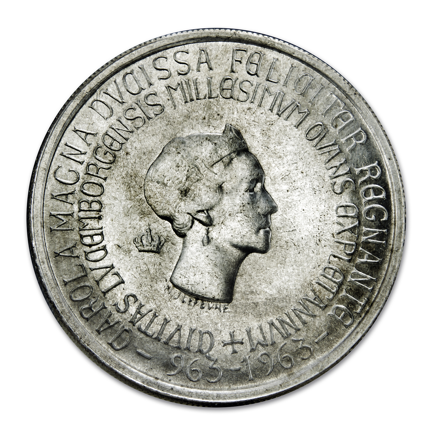 Luxembourg 1963 Silver 250 Francs BU Charlotte