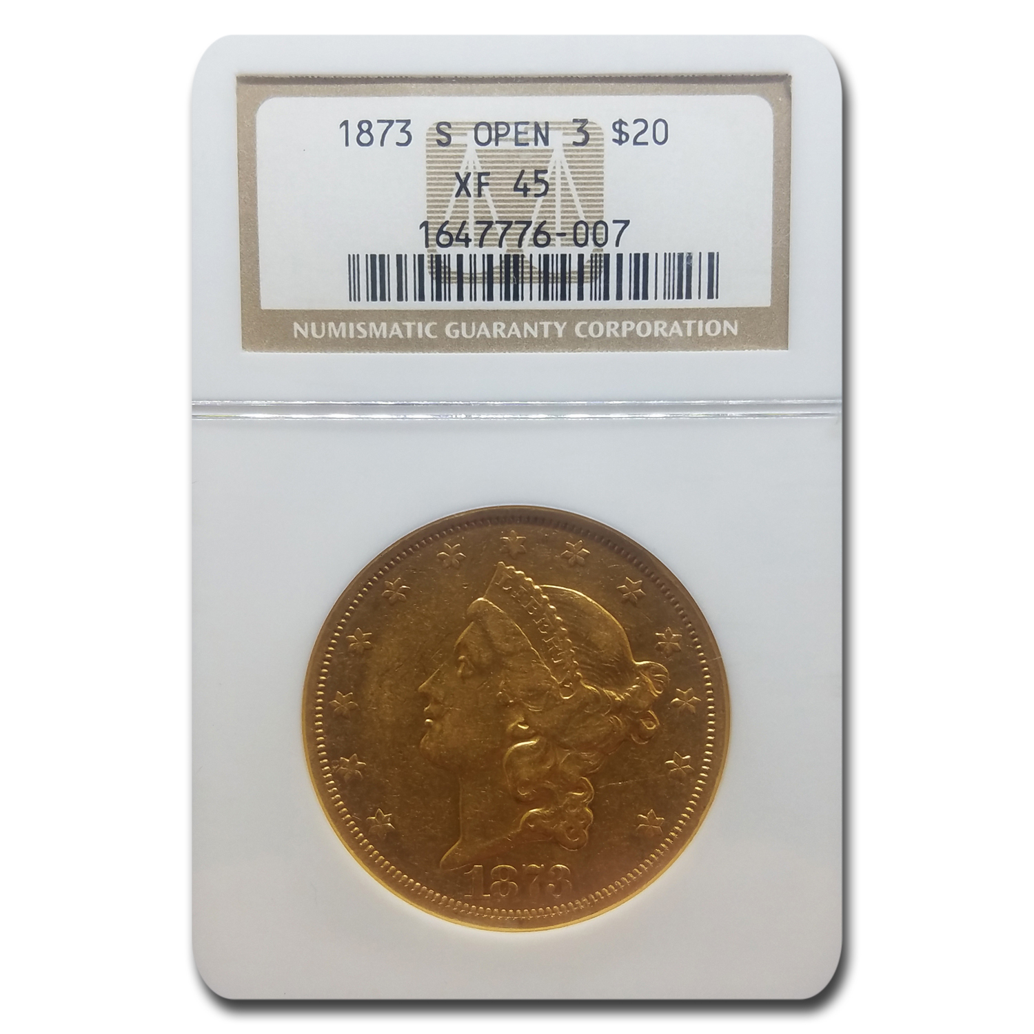 1873-S $20 Liberty Gold Double Eagle Open 3 XF-45 NGC