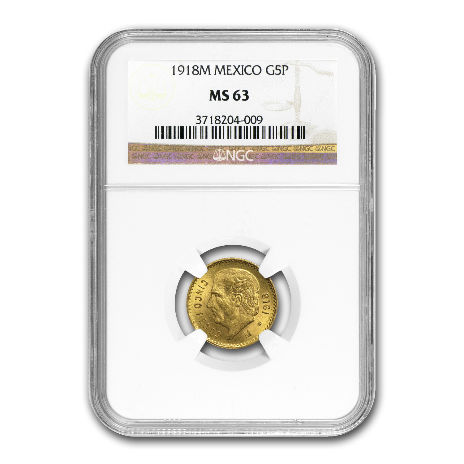 Mexico 1918 5 Pesos Gold MS-63 NGC