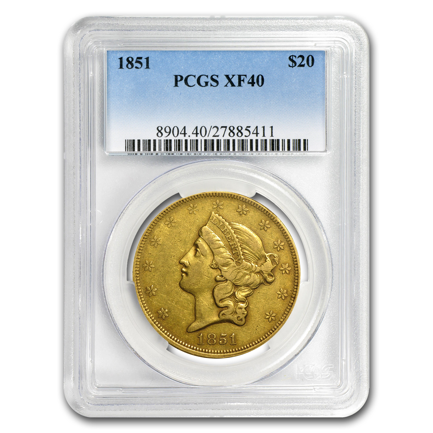 1851 $20 Gold Liberty Double Eagle EF-40 PCGS