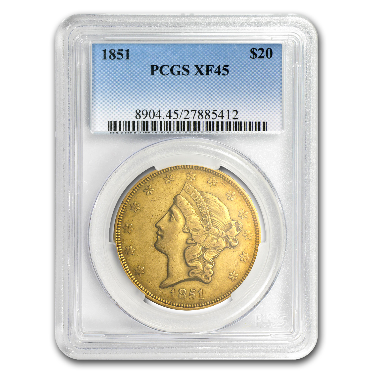 1851 $20 Liberty Gold Double Eagle EF-45 PCGS