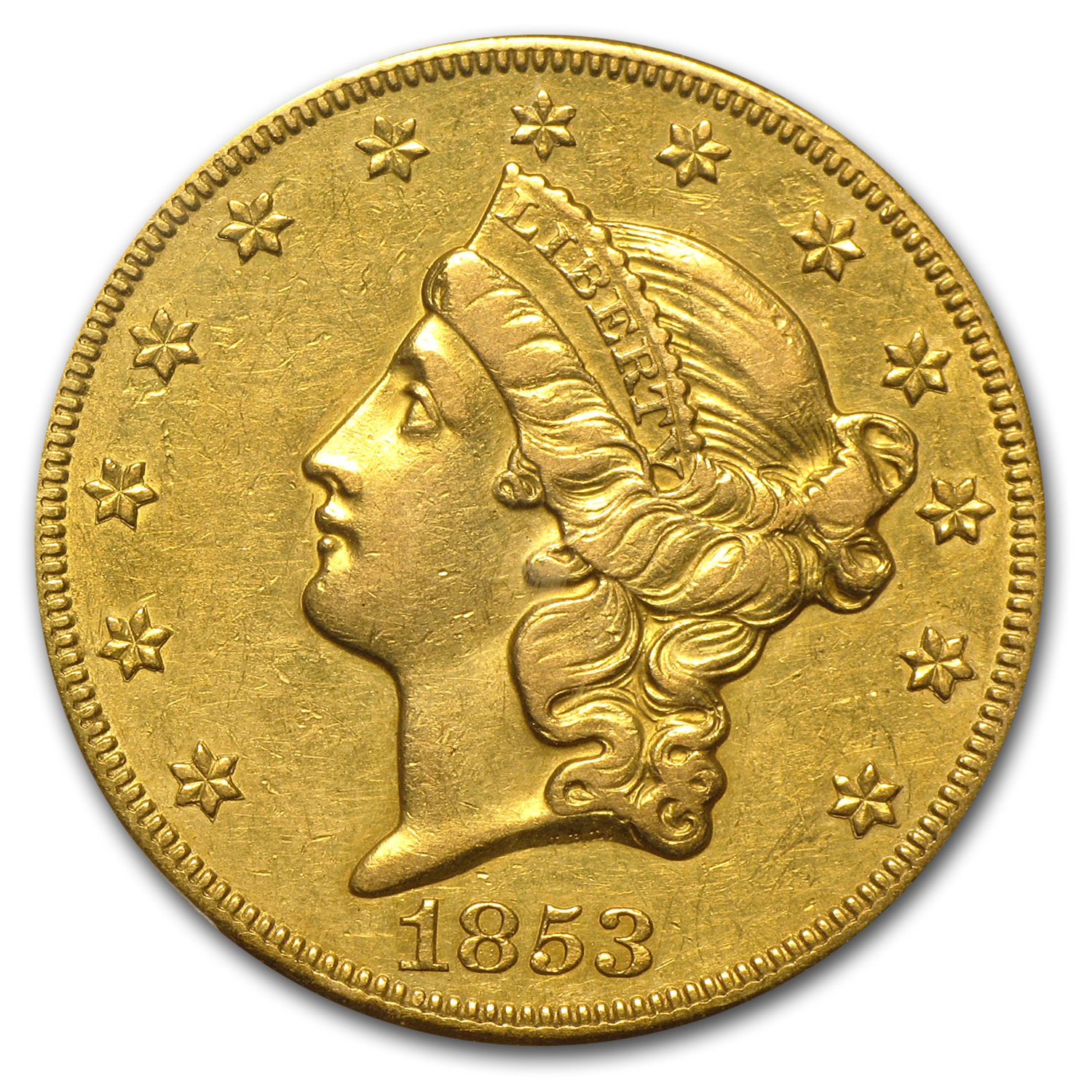 1853-O $20 Liberty Gold Double Eagle AU Details PCGS
