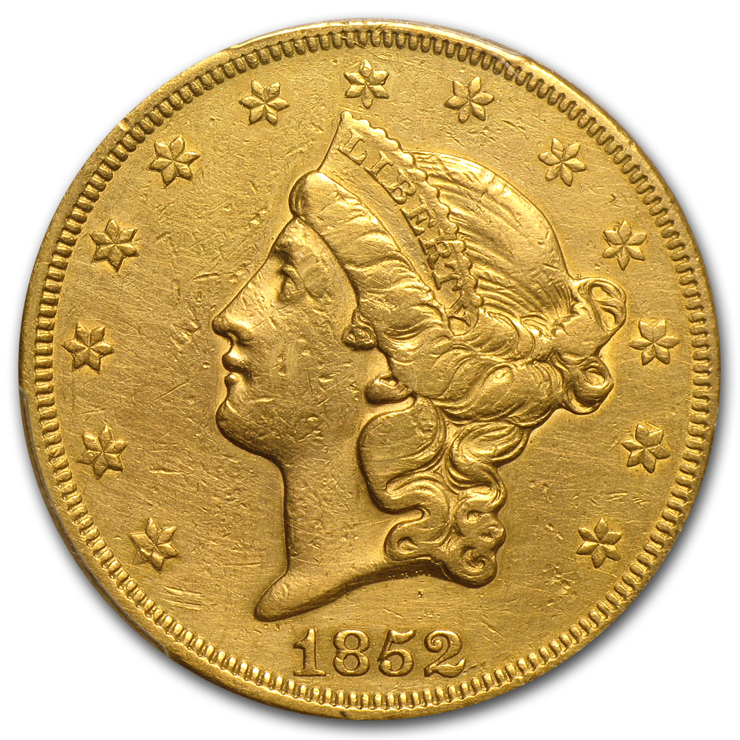 1852 $20 Gold Liberty Double Eagle - (EF Details) - PCGS