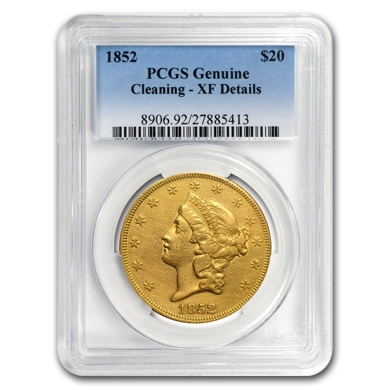 1852 $20 Liberty Gold Double Eagle XF Details PCGS