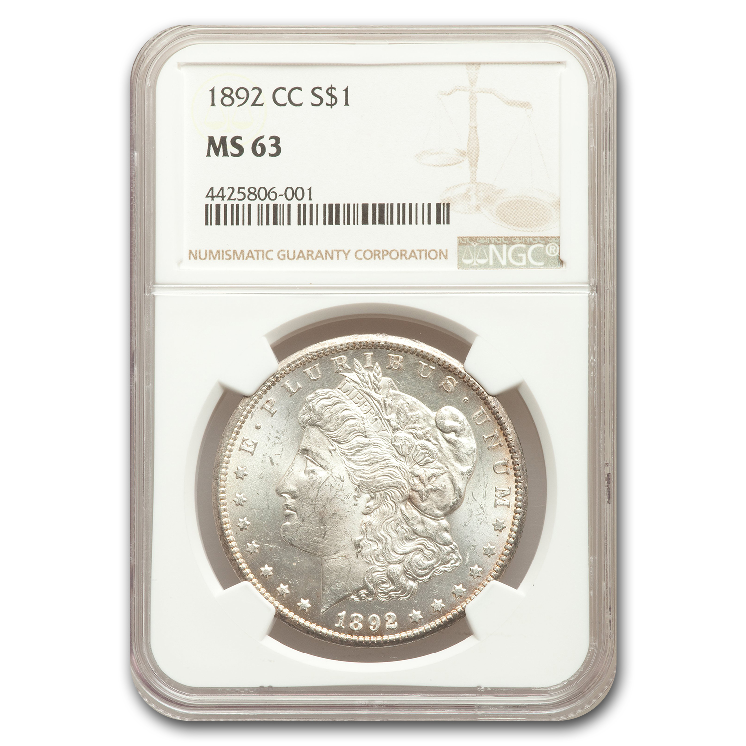 1892-CC Morgan Dollar MS-63 NGC