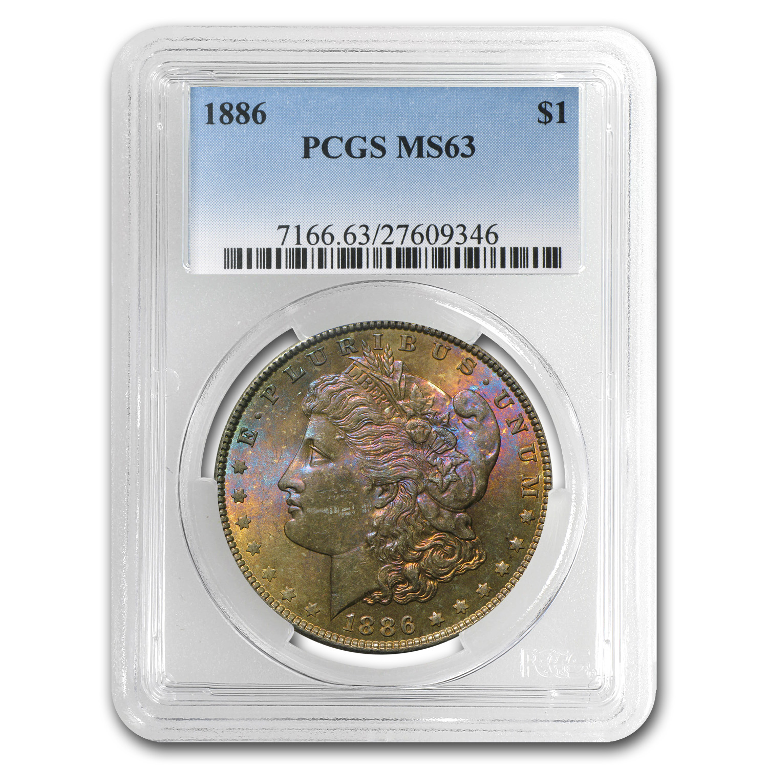 1878-1904 Morgan Dollars - MS-63 PCGS (Beautifully Toned)