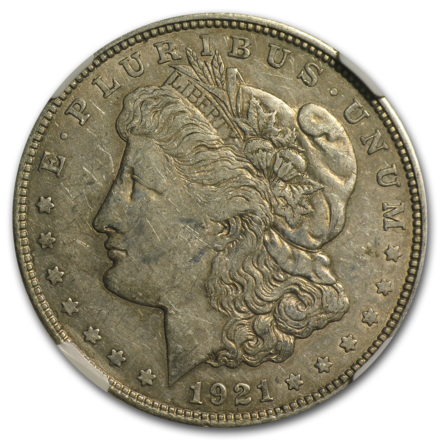 1921-D Morgan Dollar- XF Details Struck Thru Error