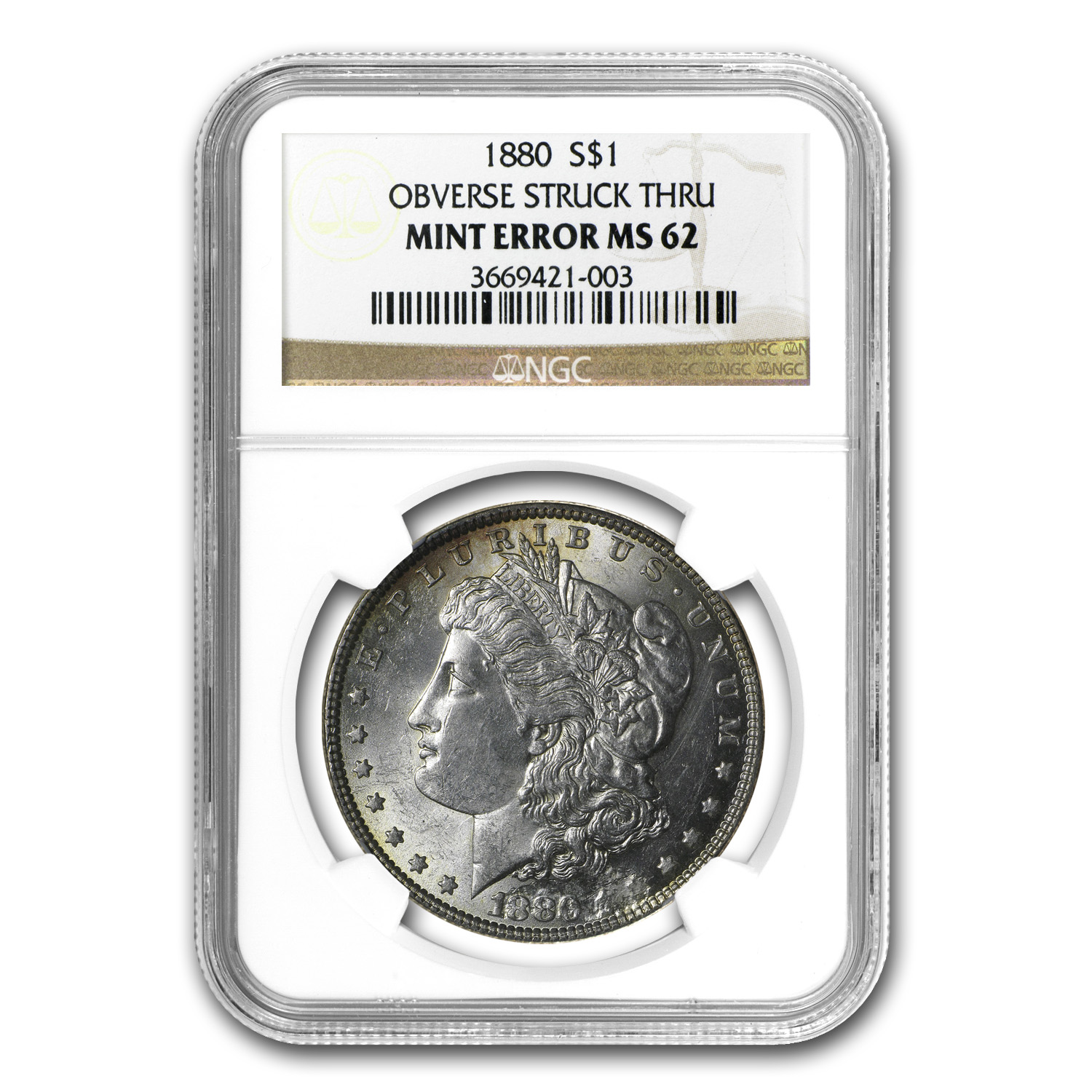 1880 Morgan Dollar MS-62 NGC (Obverse Struck Thru)