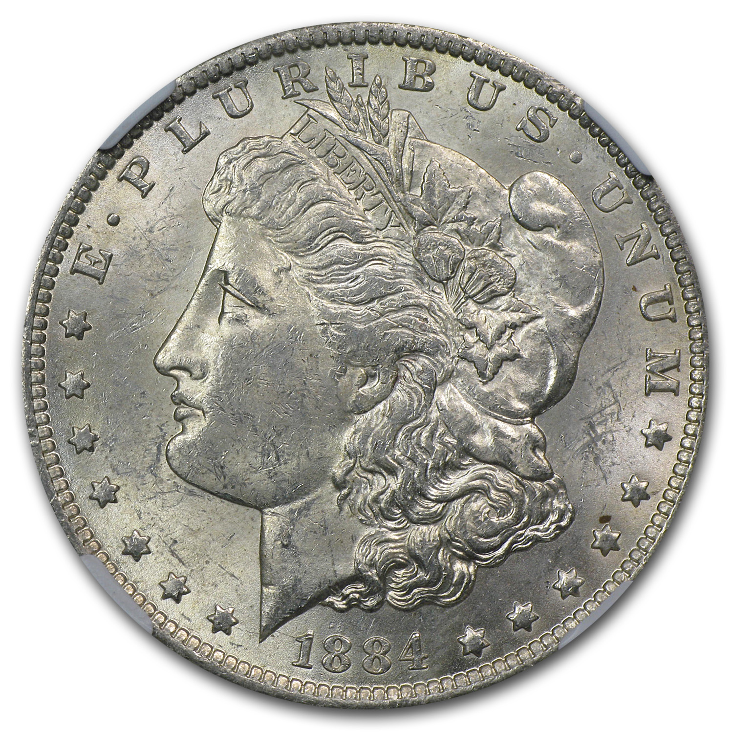 1884-O Morgan Dollar MS-61 NGC (Rev Struck Thru Error)