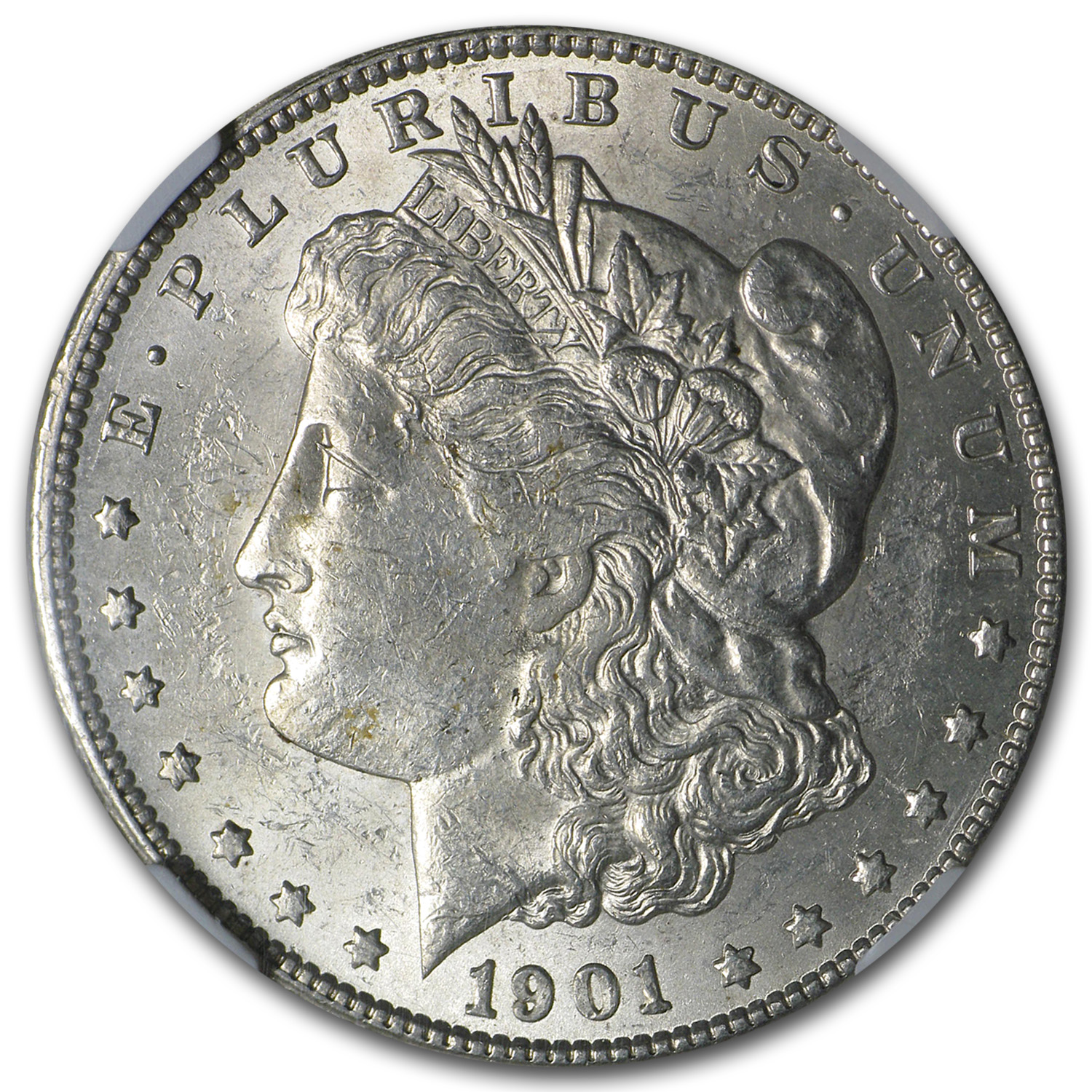 1901-S Morgan Dollar AU-58 NGC (Rev Struck Thru Error)