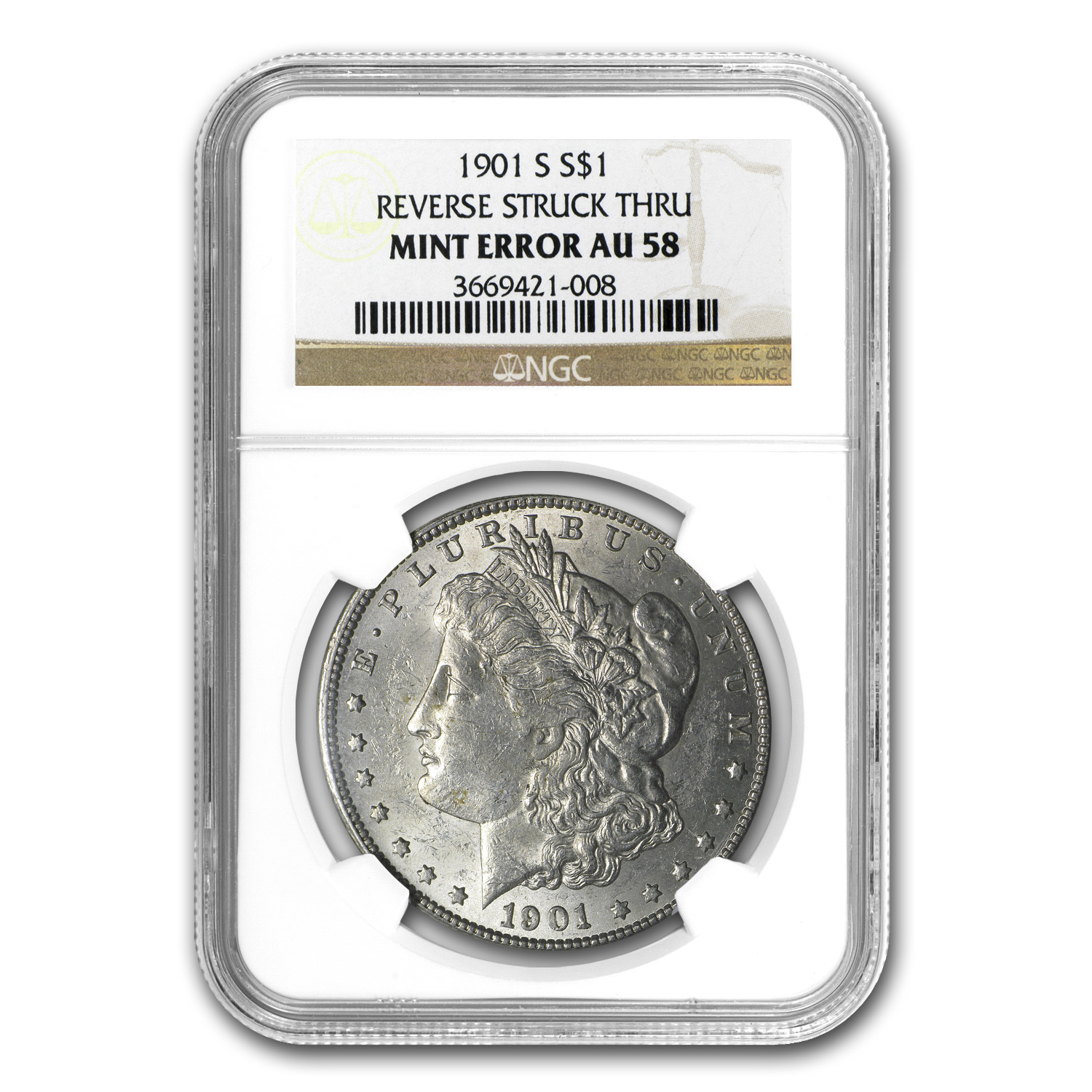 1901-S Morgan Dollar AU-58 NGC Reverse Struck Thru Mint Error