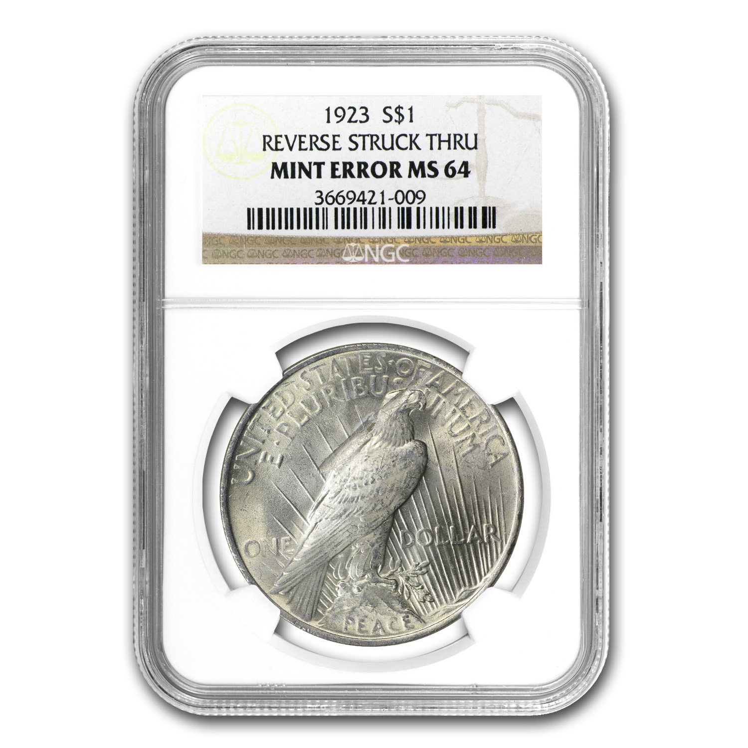 1923 Peace Dollar MS-64 NGC Reverse Struck Thru Mint Error