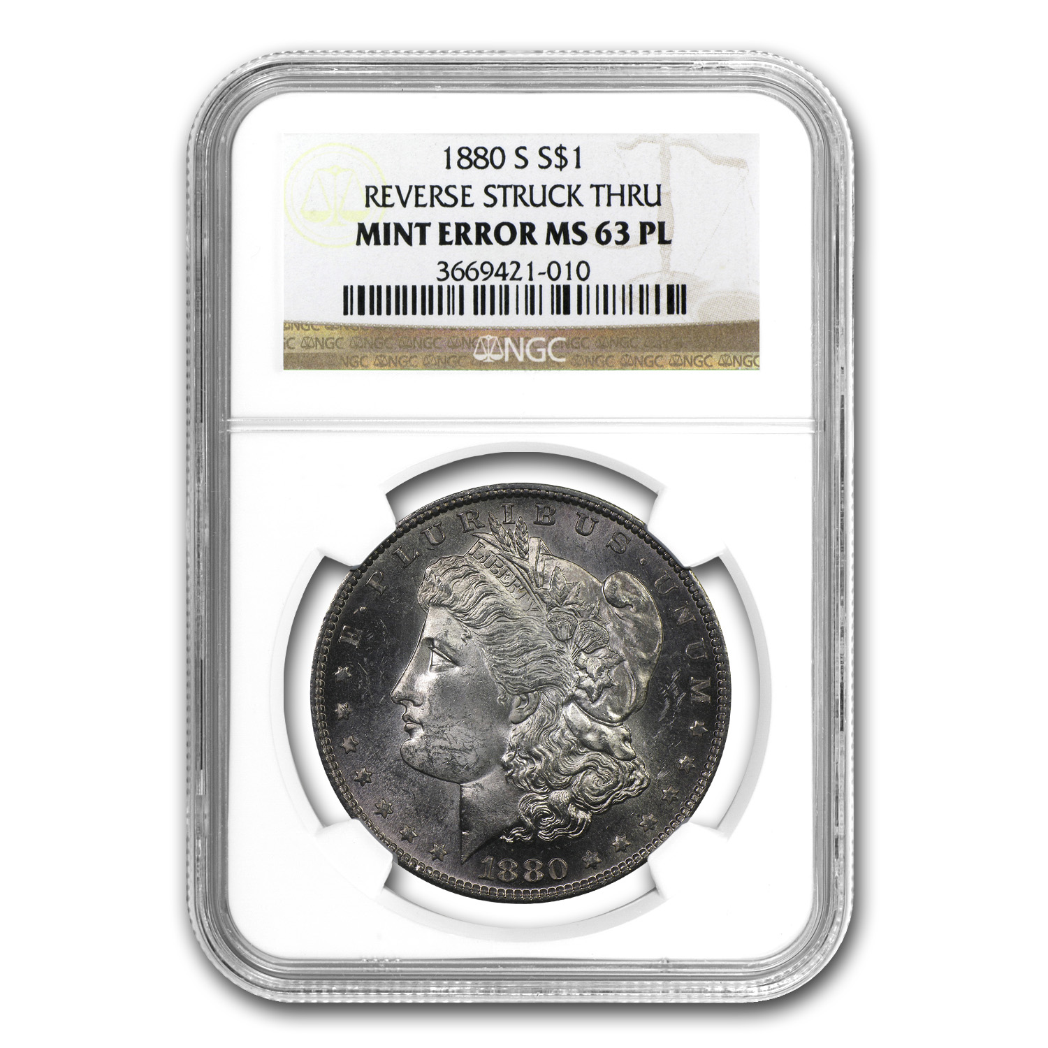 1880-S Morgan Dollar MS-63 PL NGC (Rev Struck Thru Error)