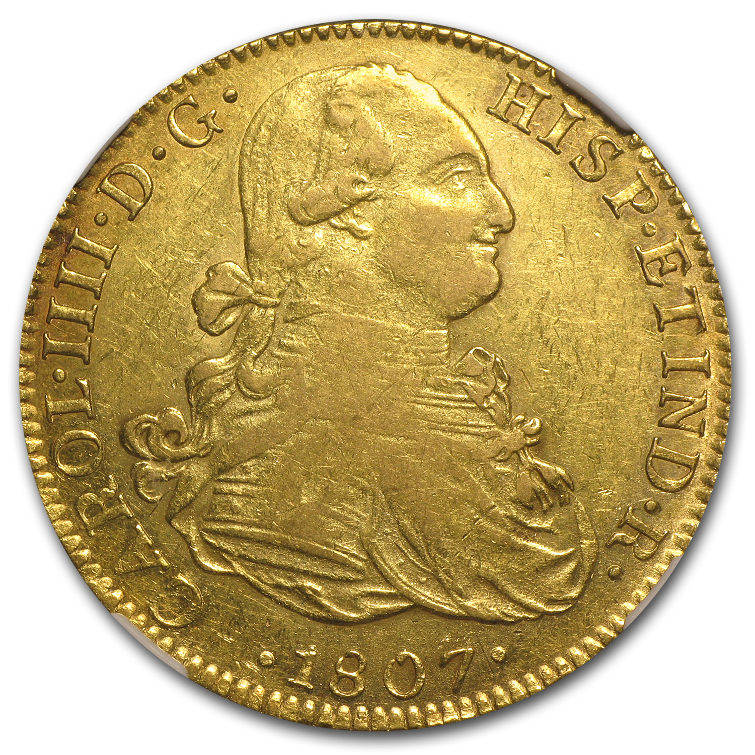 1807 Mexico Gold 8 Escudos Charles IIII AU-50 NGC
