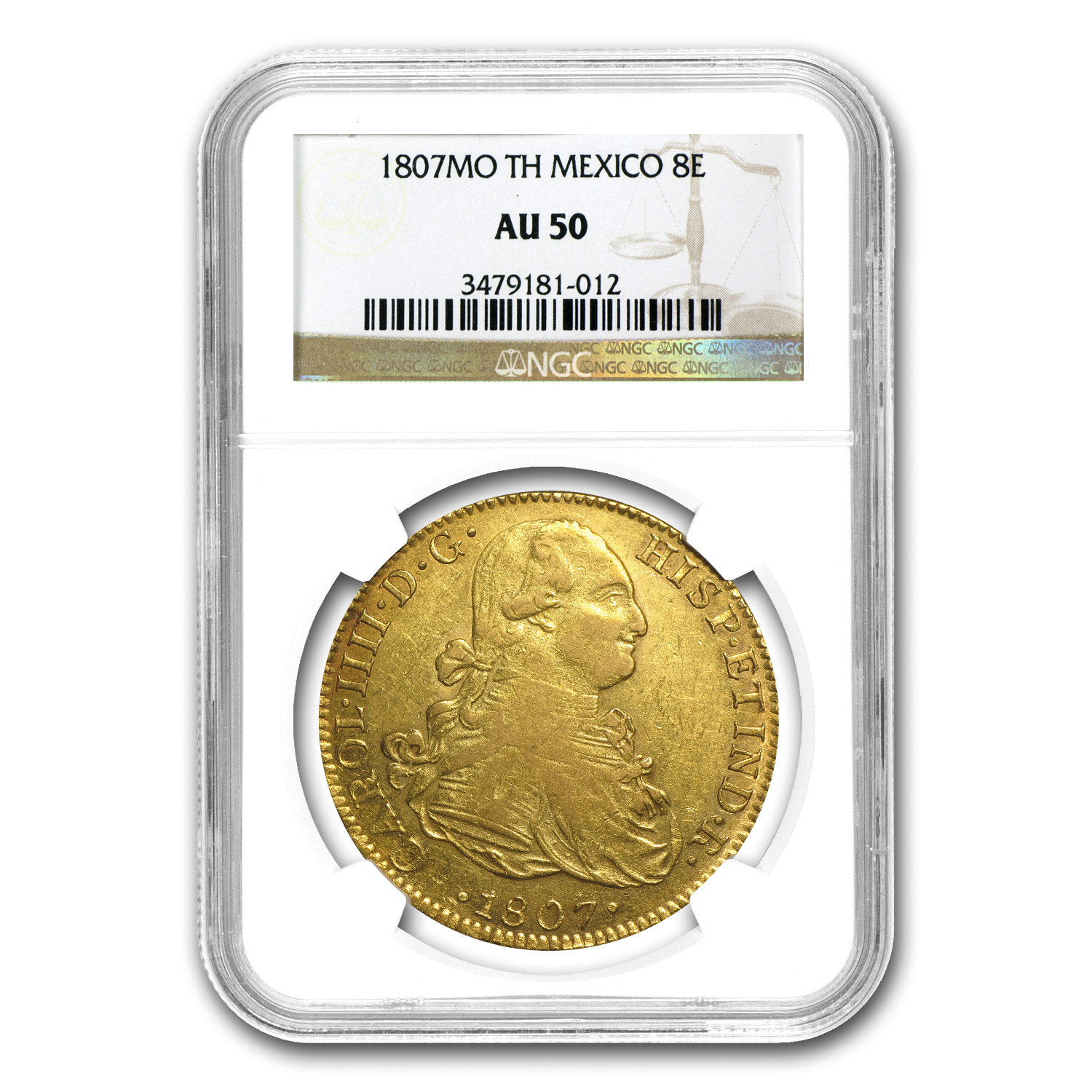 1807 8 Escudos Mexican Gold Charles (IIII AU-50 NGC)
