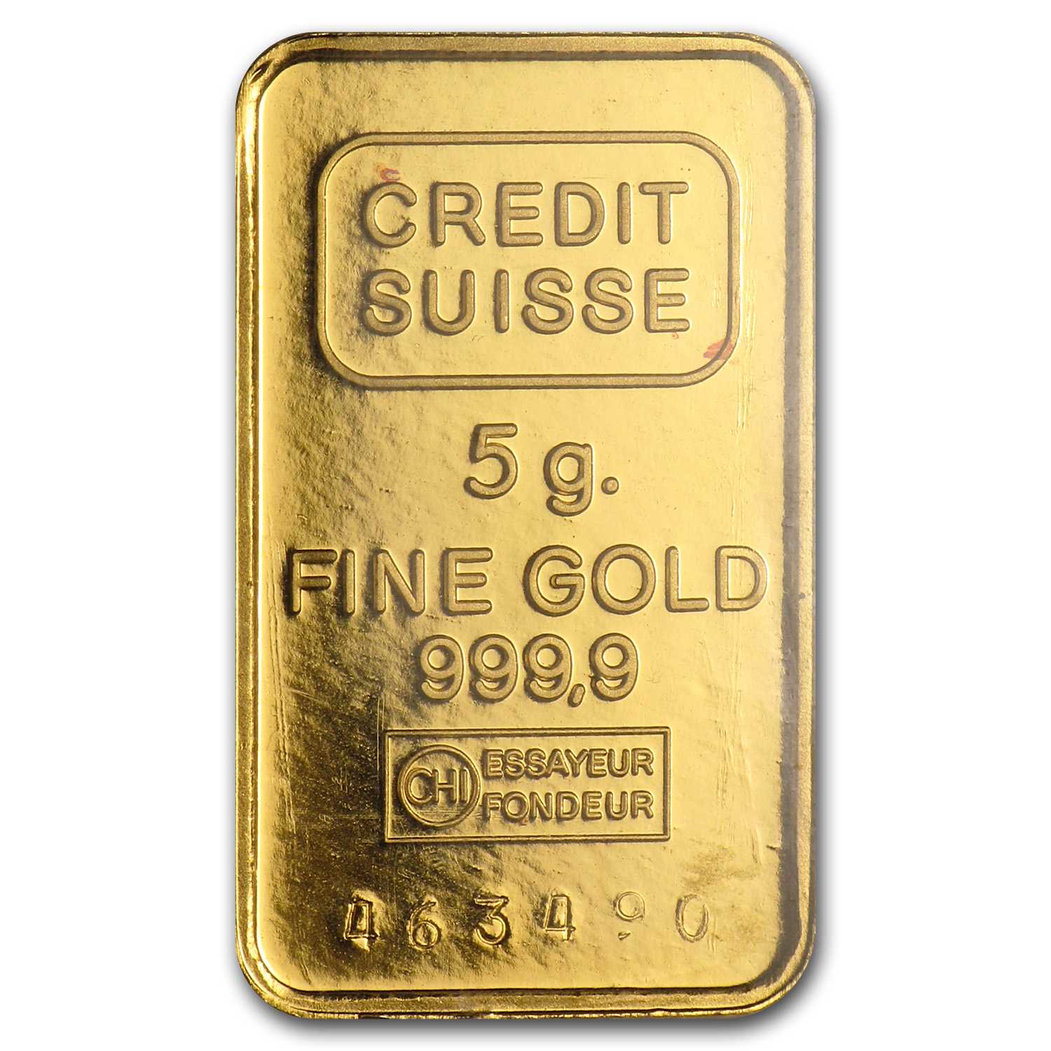 5 gram Gold Bar - Credit Suisse Vintage Design
