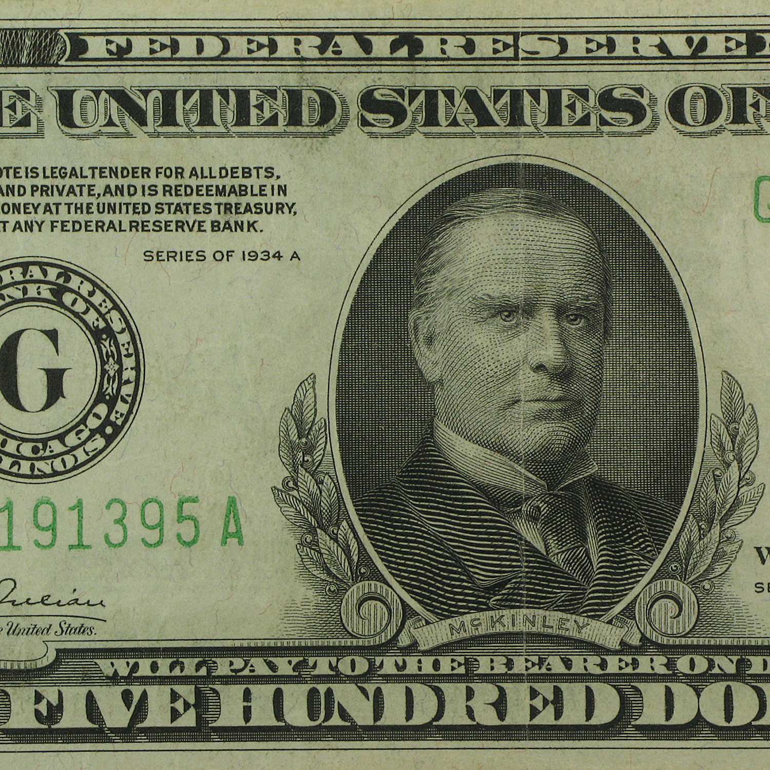1934-A (G-Chicago) $500 FRN VF+
