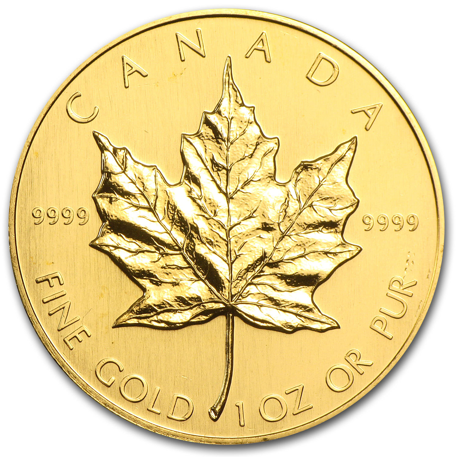 1989 1 oz Gold Canadian Maple Leaf BU