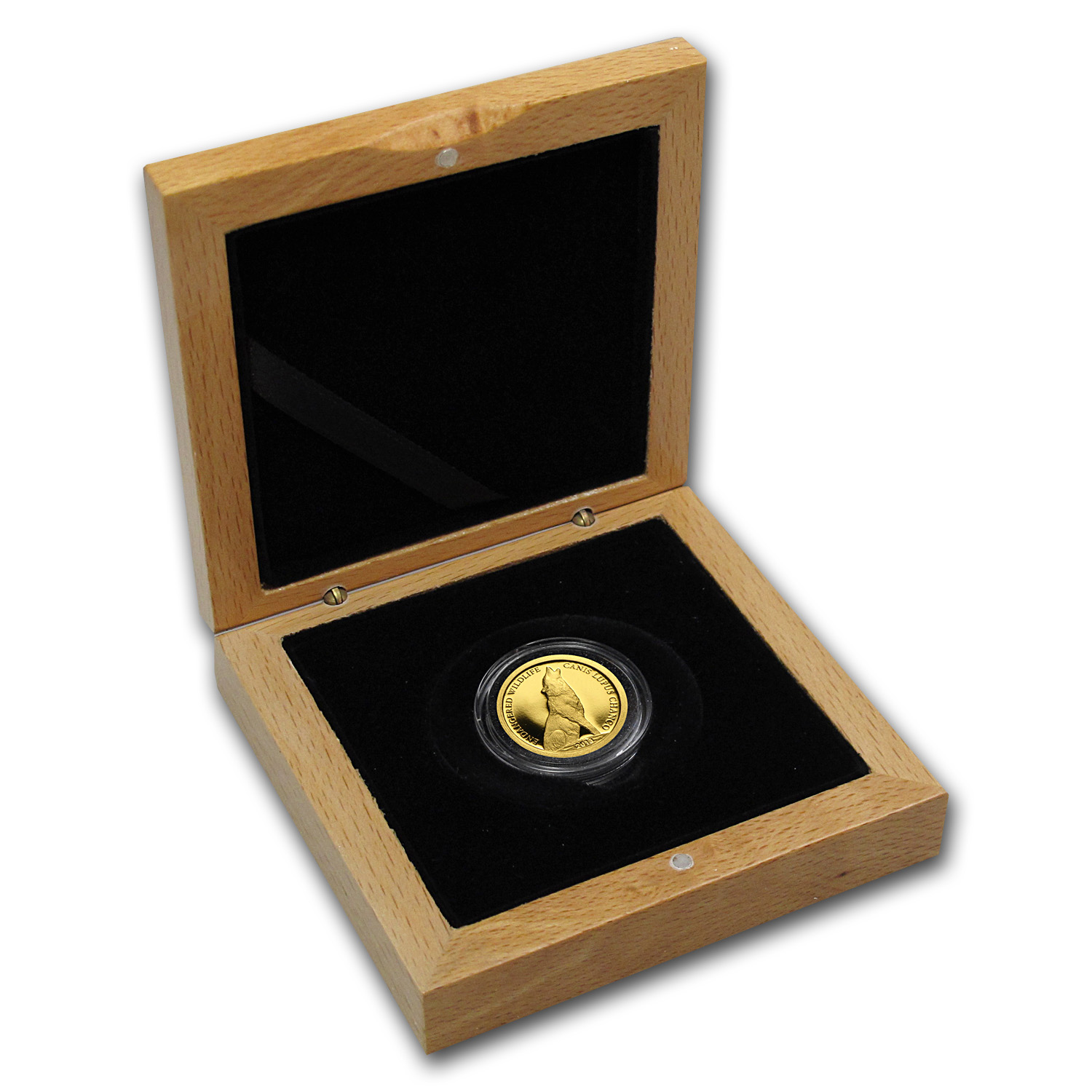 Mongolia 2013 Endangered Wildlife - Wolf (1/2 gram of Pure Gold)