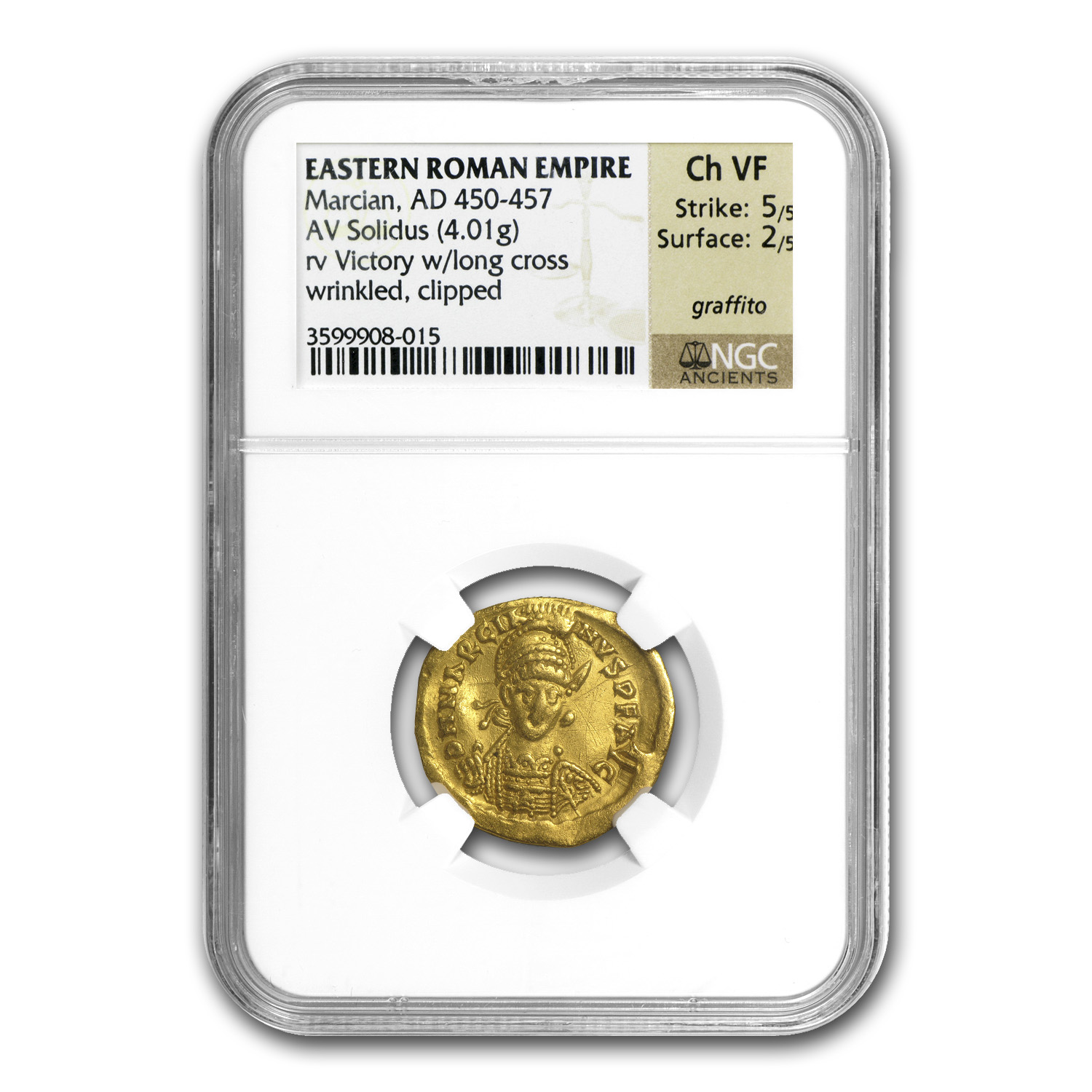 East Roman Empire Gold Solidus of Marcian (450-457AD) NGC ChVF