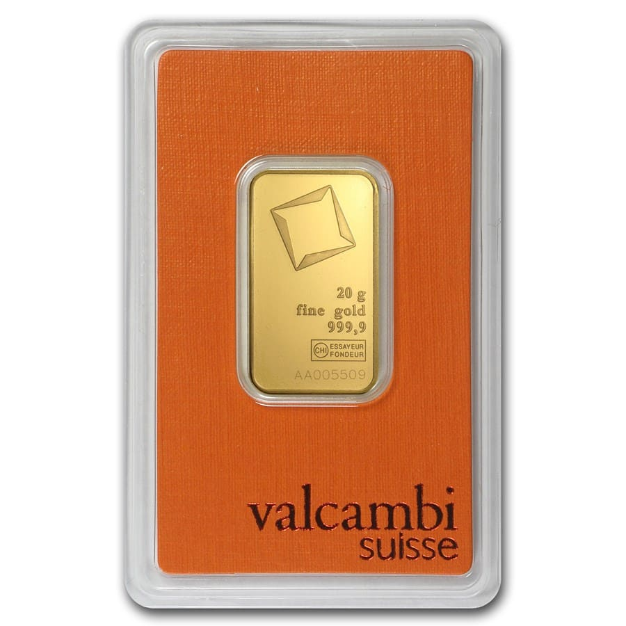 20 gram Gold Bar - Valcambi (In Assay)