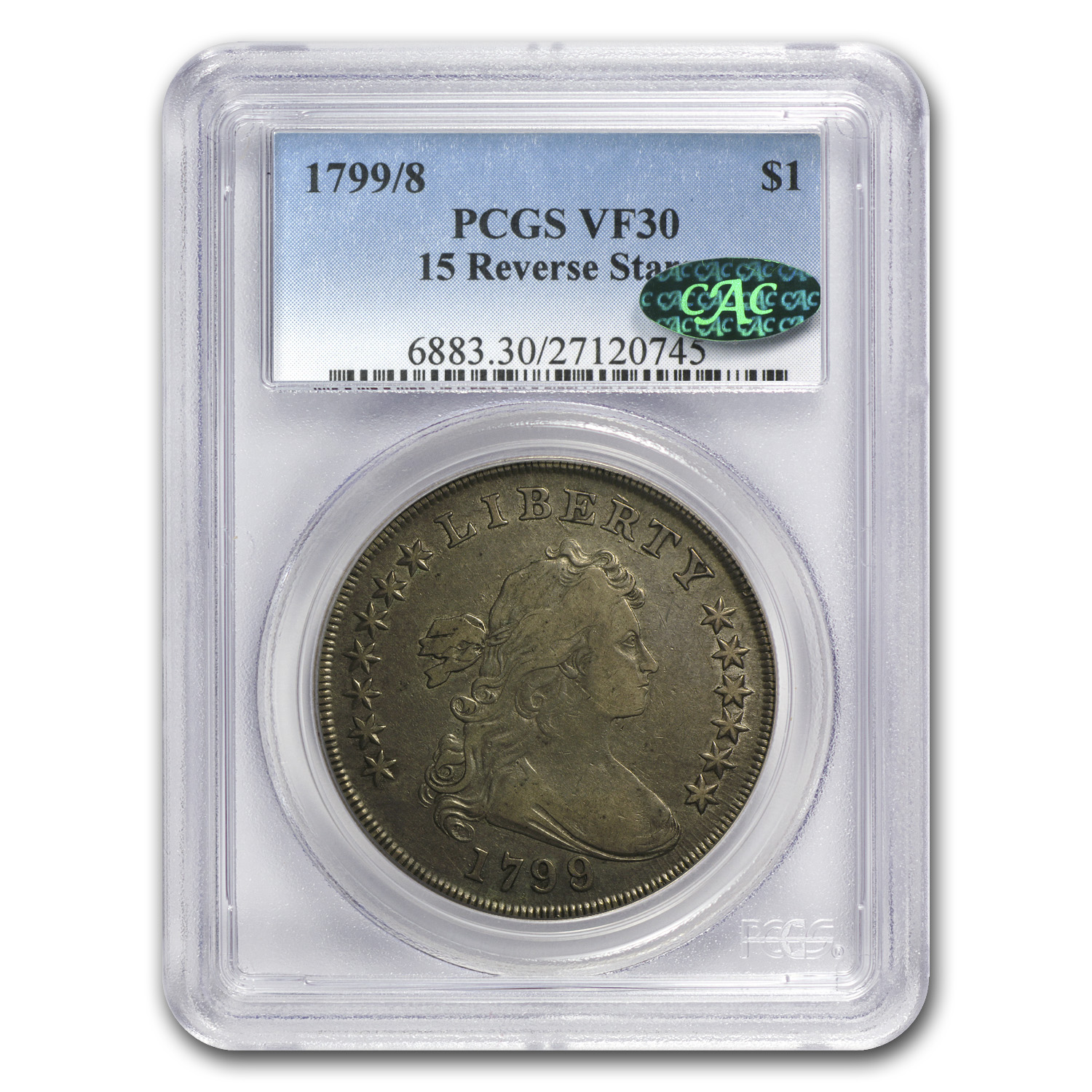 1799/8 Draped Bust Dollar Very Fine-30 PCGS 15 Reverse Stars CAC