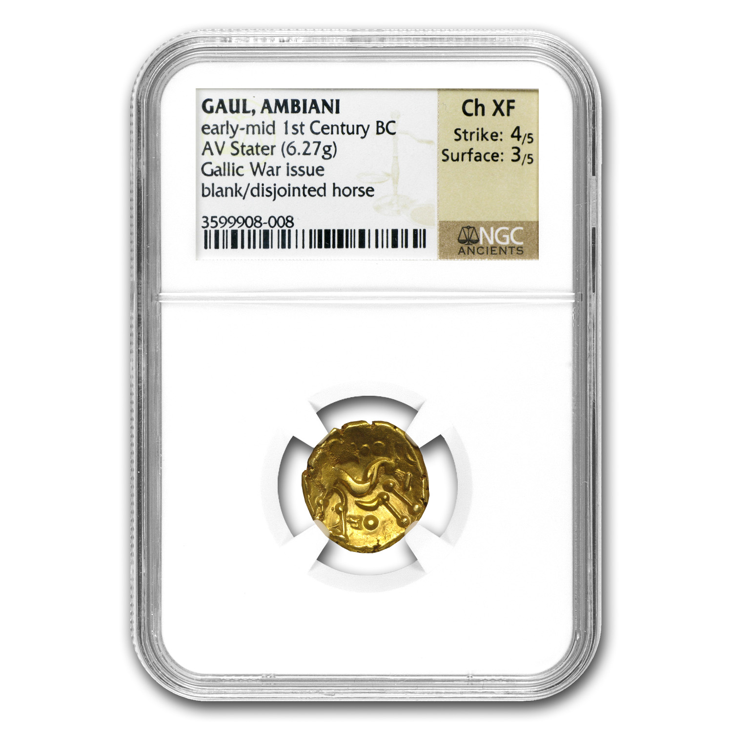 Gaul Ambiani AV Gold Stater 1st Cent BC NGC ChXF